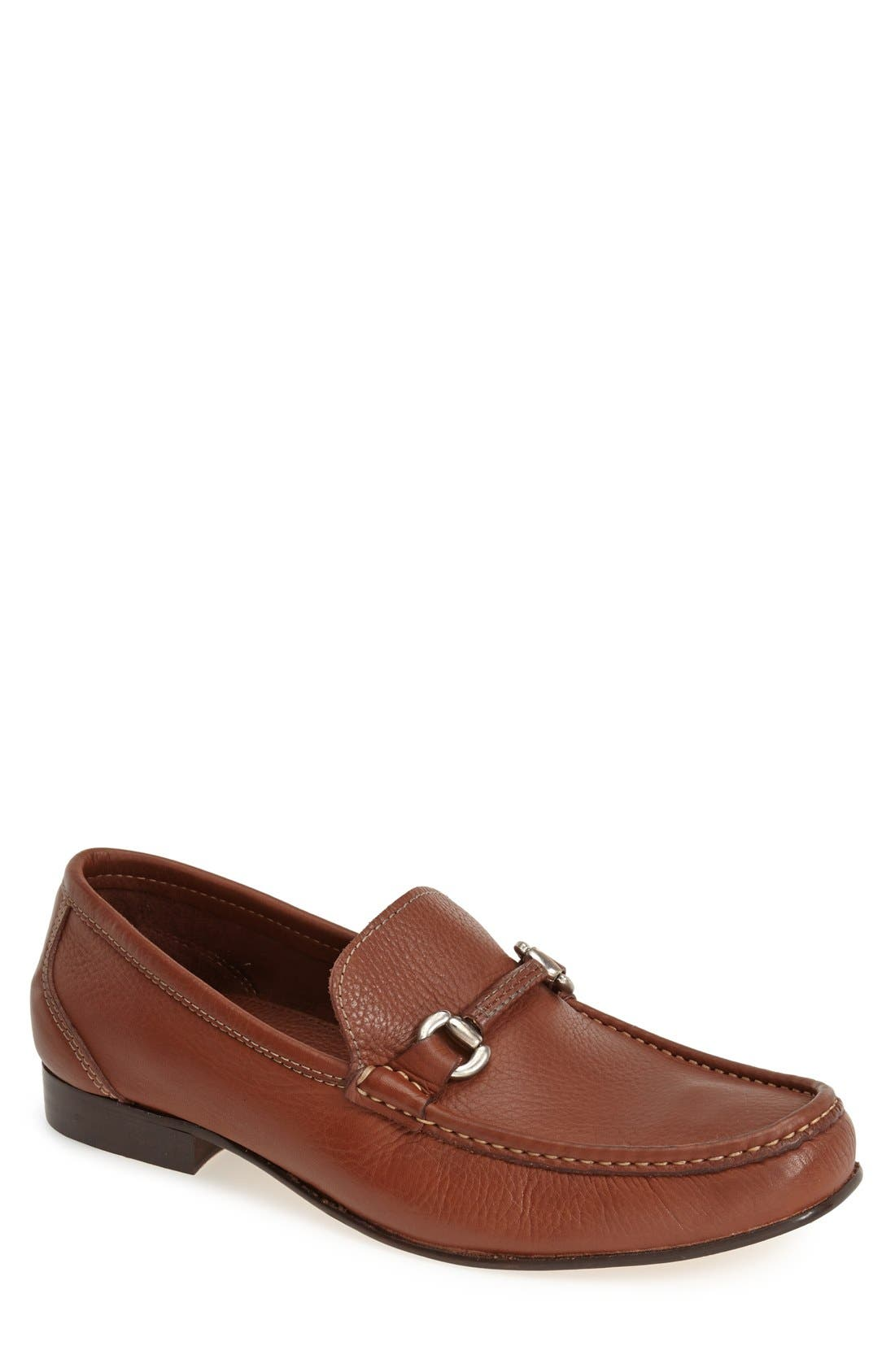 'San Remo' Leather Bit Loafer,                             Main thumbnail 1, color,                             BROWN