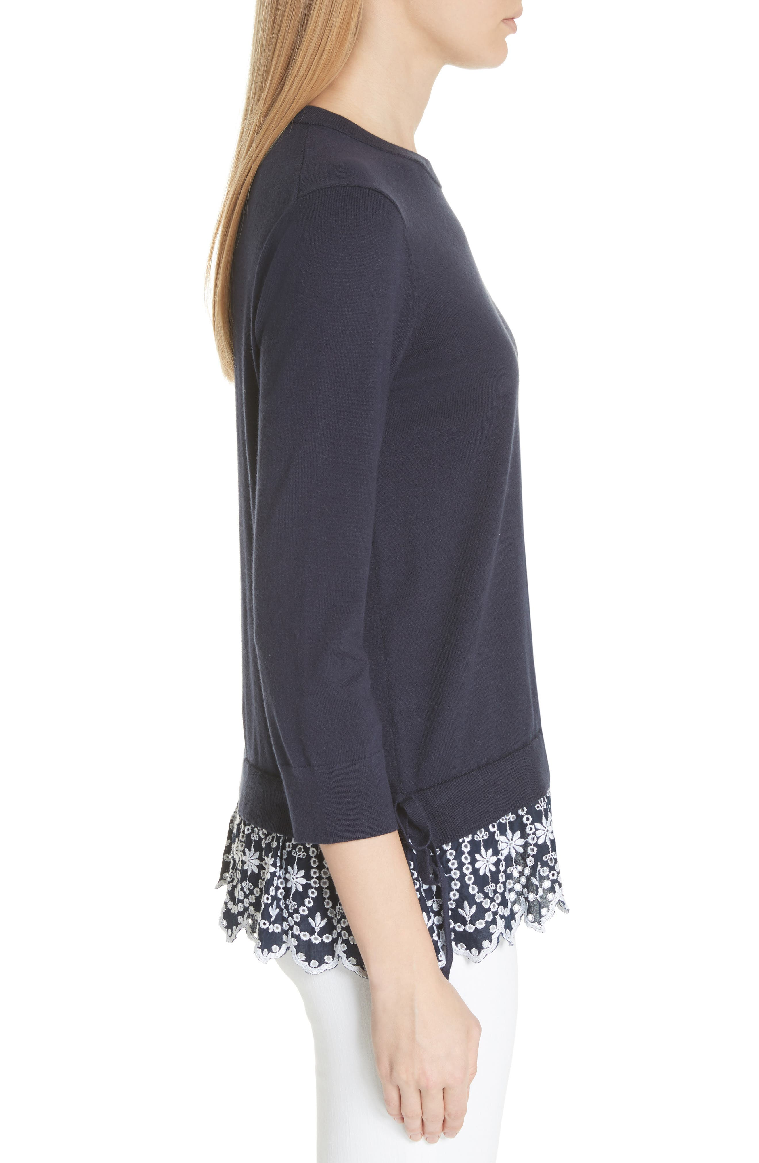 KATE SPADE NEW YORK,                             eyelet hem sweater,                             Alternate thumbnail 3, color,                             473
