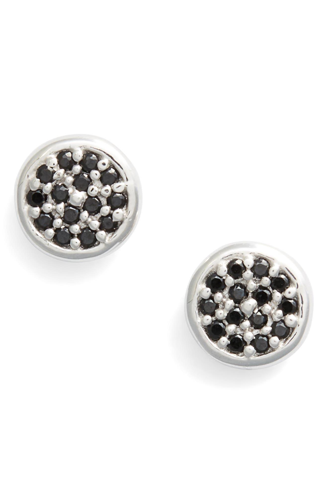Cubic Zirconia Stud Earrings,                         Main,                         color, BLACK/ SILVER