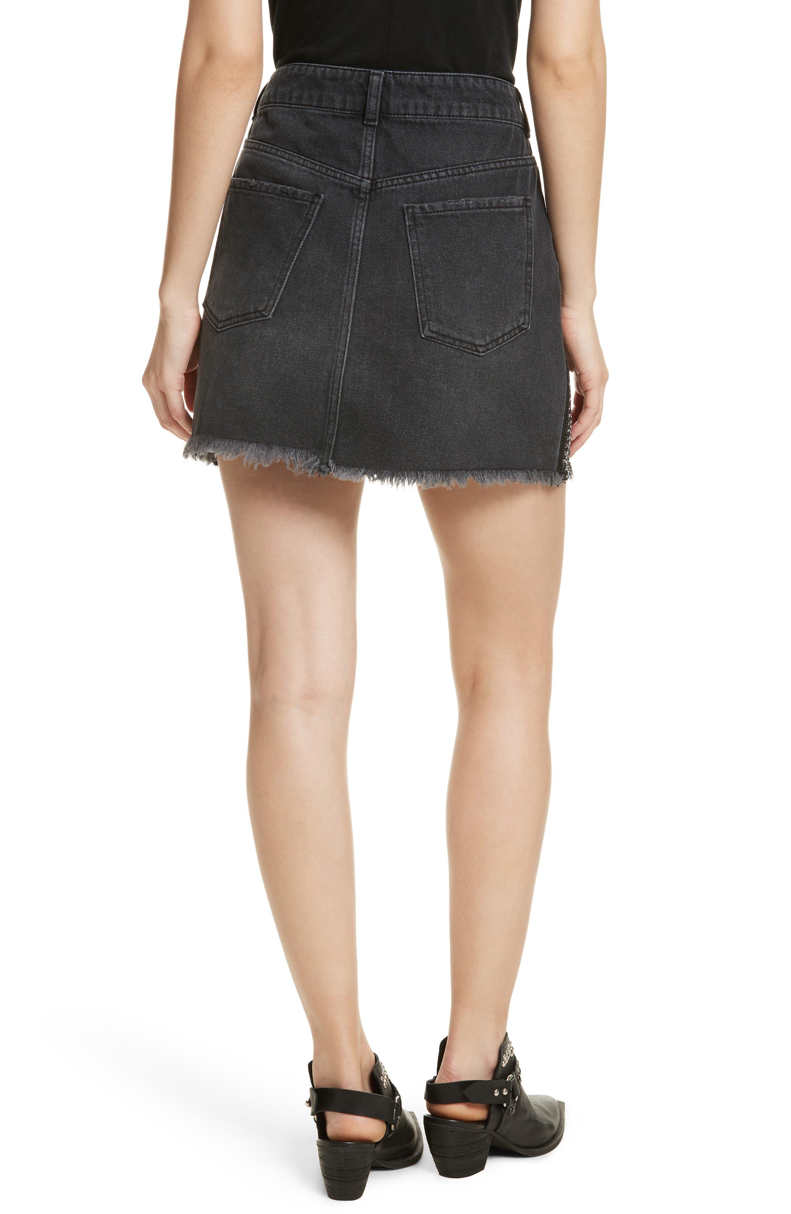 FREE PEOPLE,                             Stripe Cutoff Denim Miniskirt,                             Alternate thumbnail 2, color,                             001
