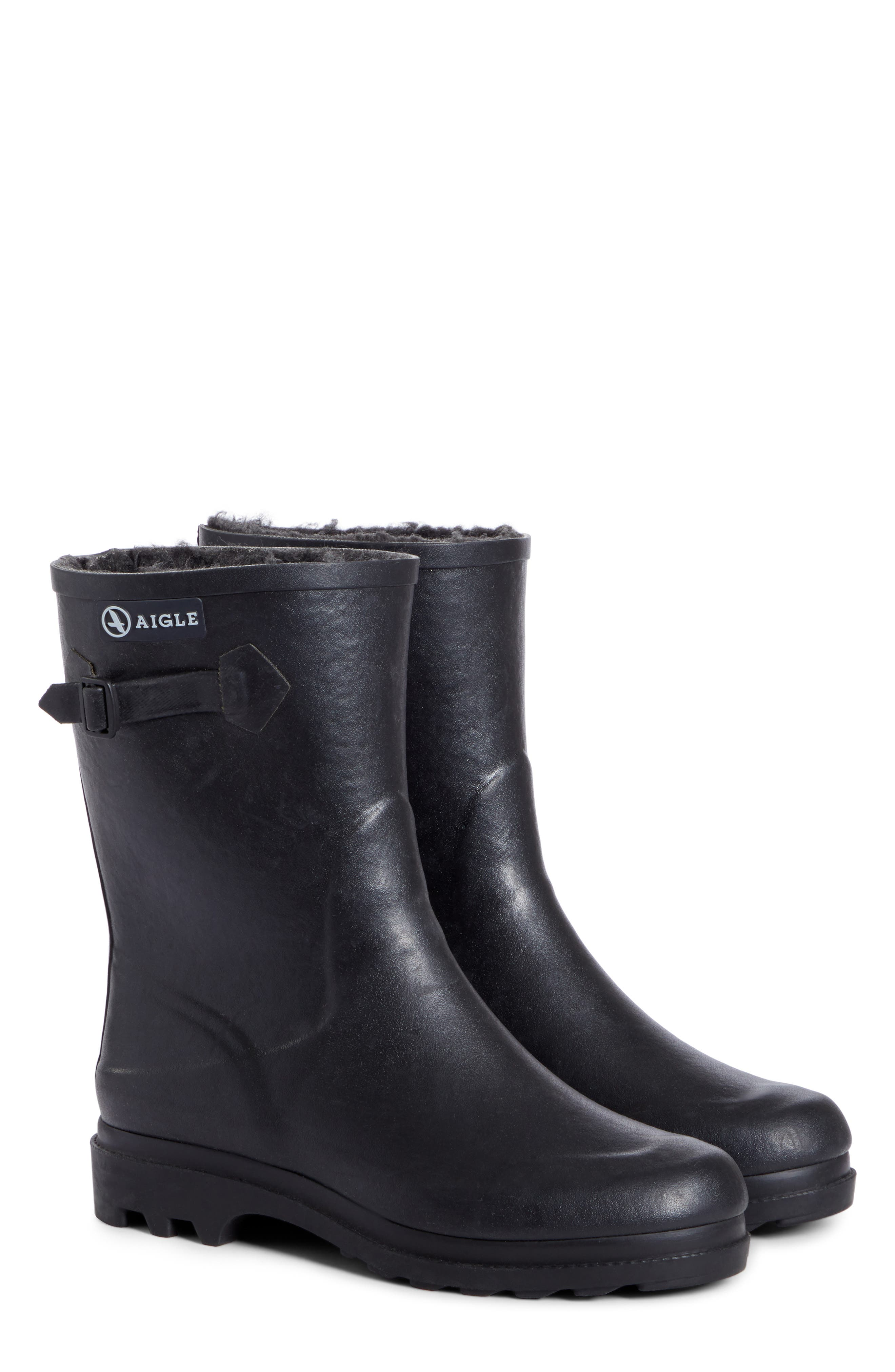 Icare Waterproof Rubber Ankle Boot with Faux Fur Lining,                             Alternate thumbnail 2, color,                             NOIR