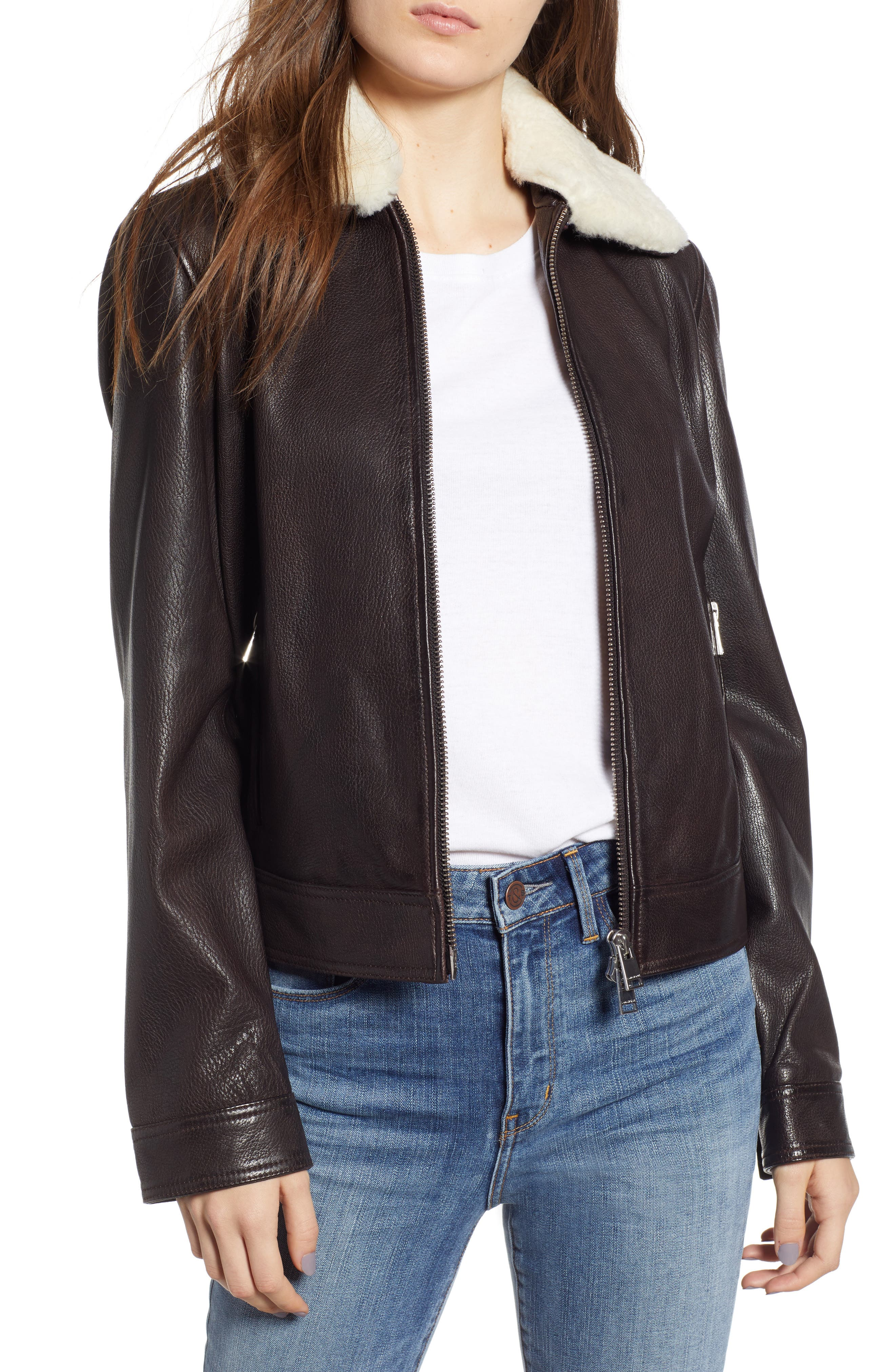 Lamarque Leather Flight Jacket With Removable Genuine Shearling Collar, Brown