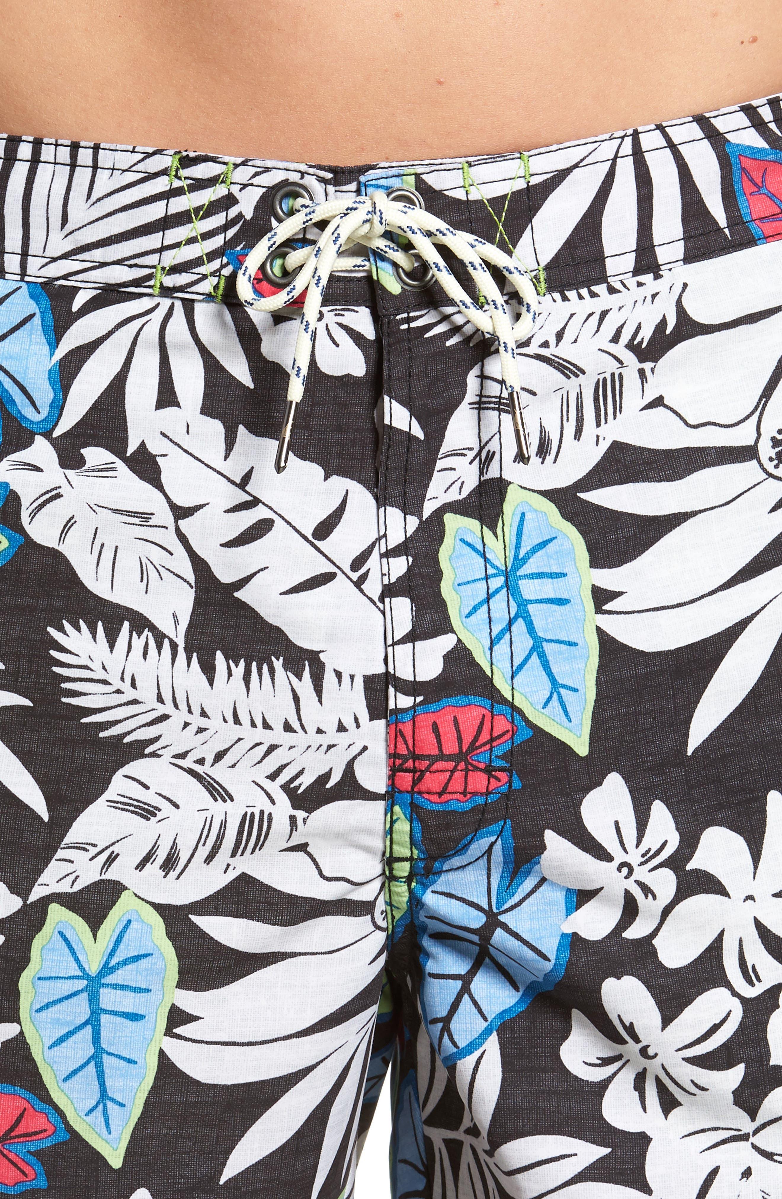 Baja Luau Leaves Board Shorts,                             Alternate thumbnail 4, color,                             001