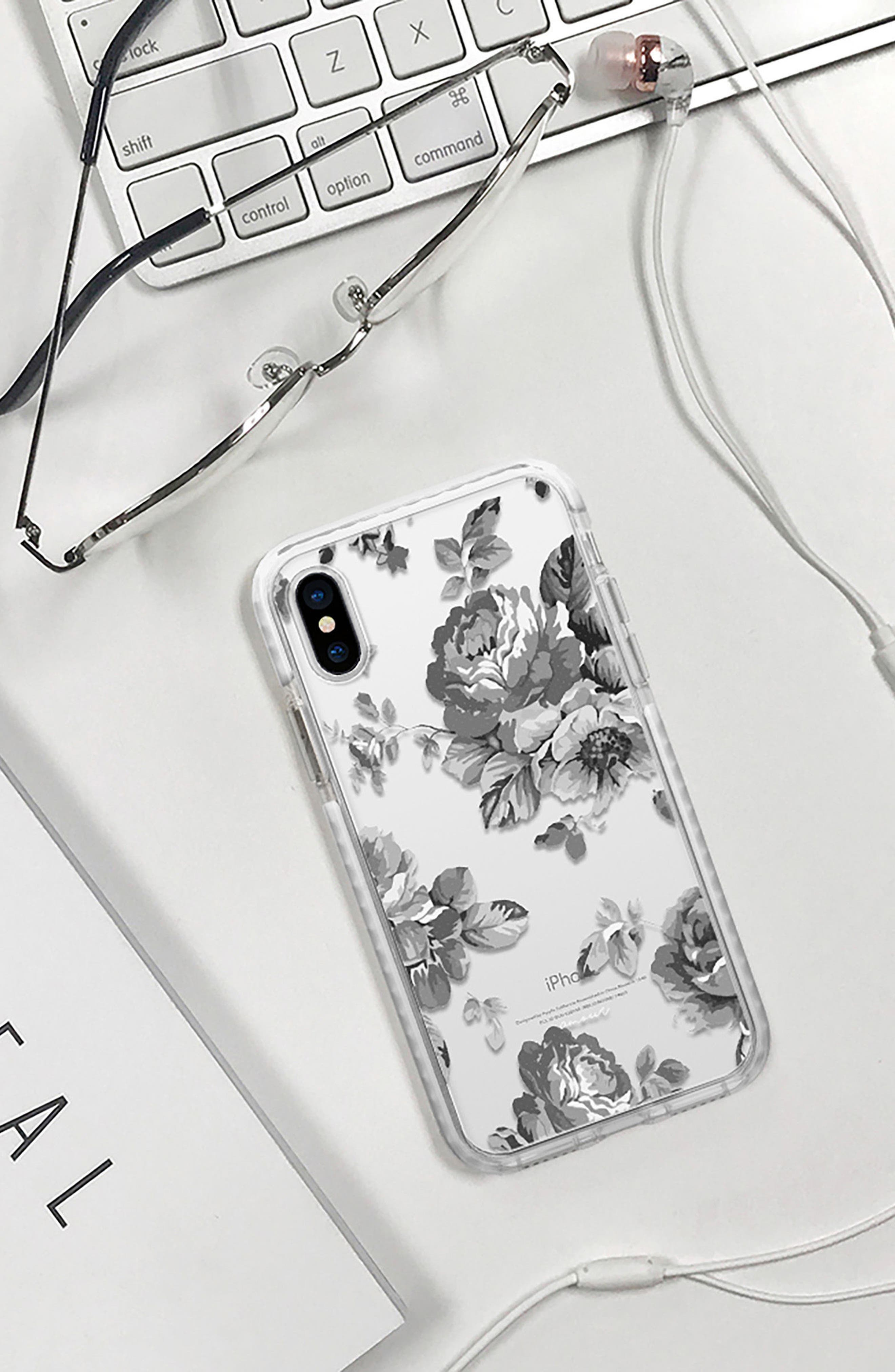 Black Floral Transparent iPhone X & Xs Case,                             Alternate thumbnail 6, color,