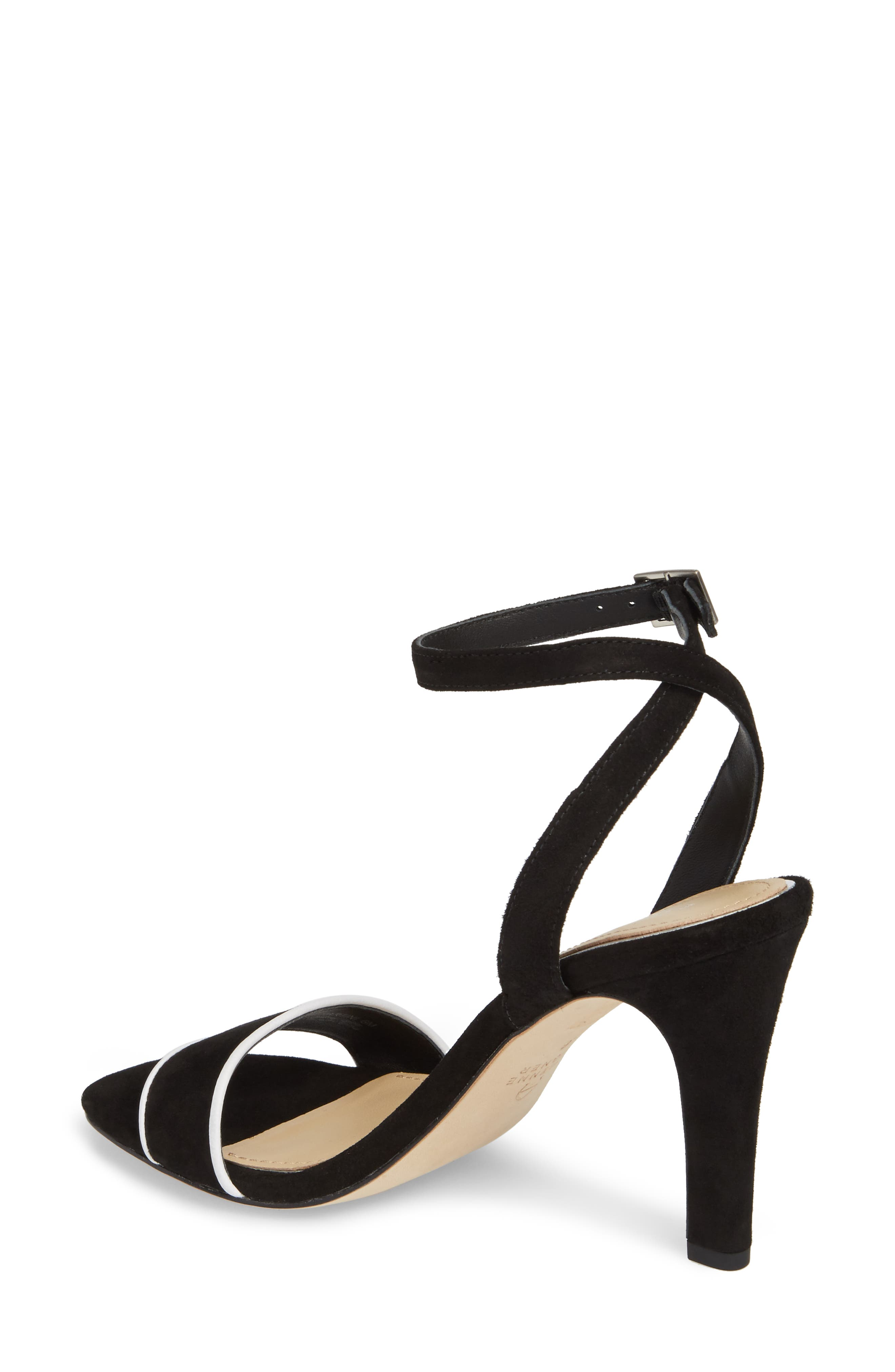 Martini Sandal,                             Alternate thumbnail 2, color,                             BLACK/ WHITE SUEDE