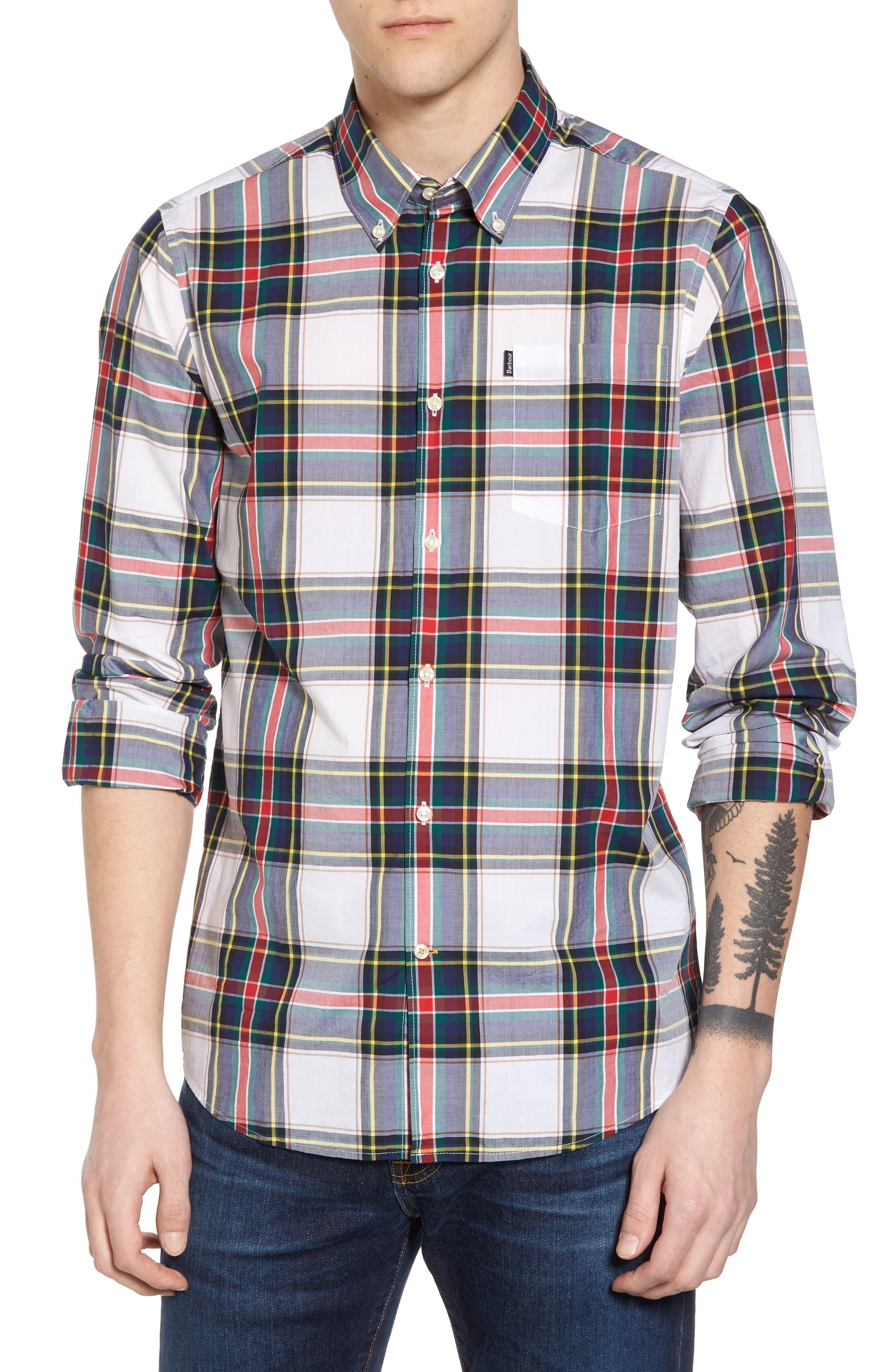 Oscar Trim Fit Plaid Sport Shirt,                         Main,                         color, 100