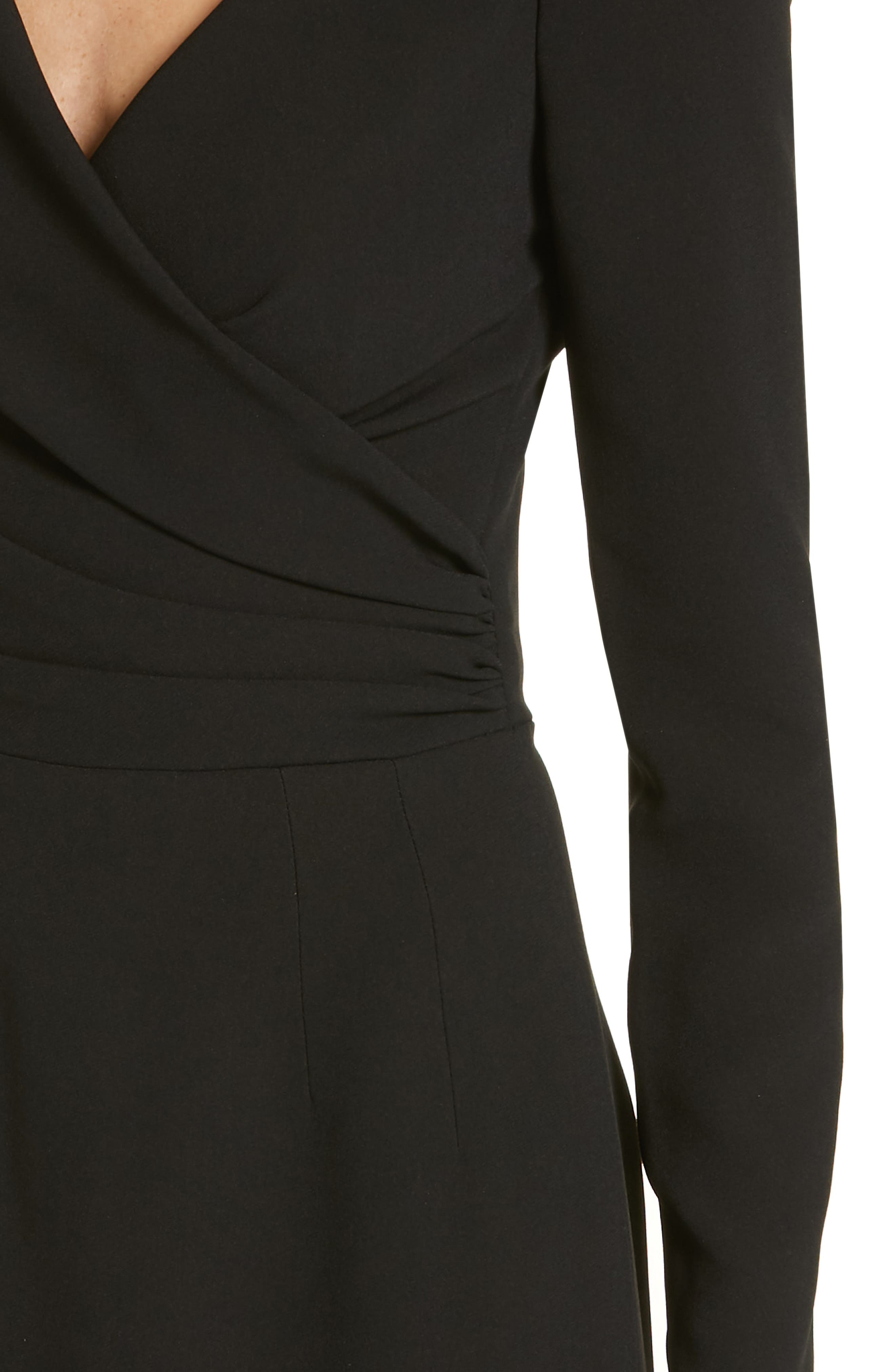Surplice Dress,                             Alternate thumbnail 4, color,                             BLACK