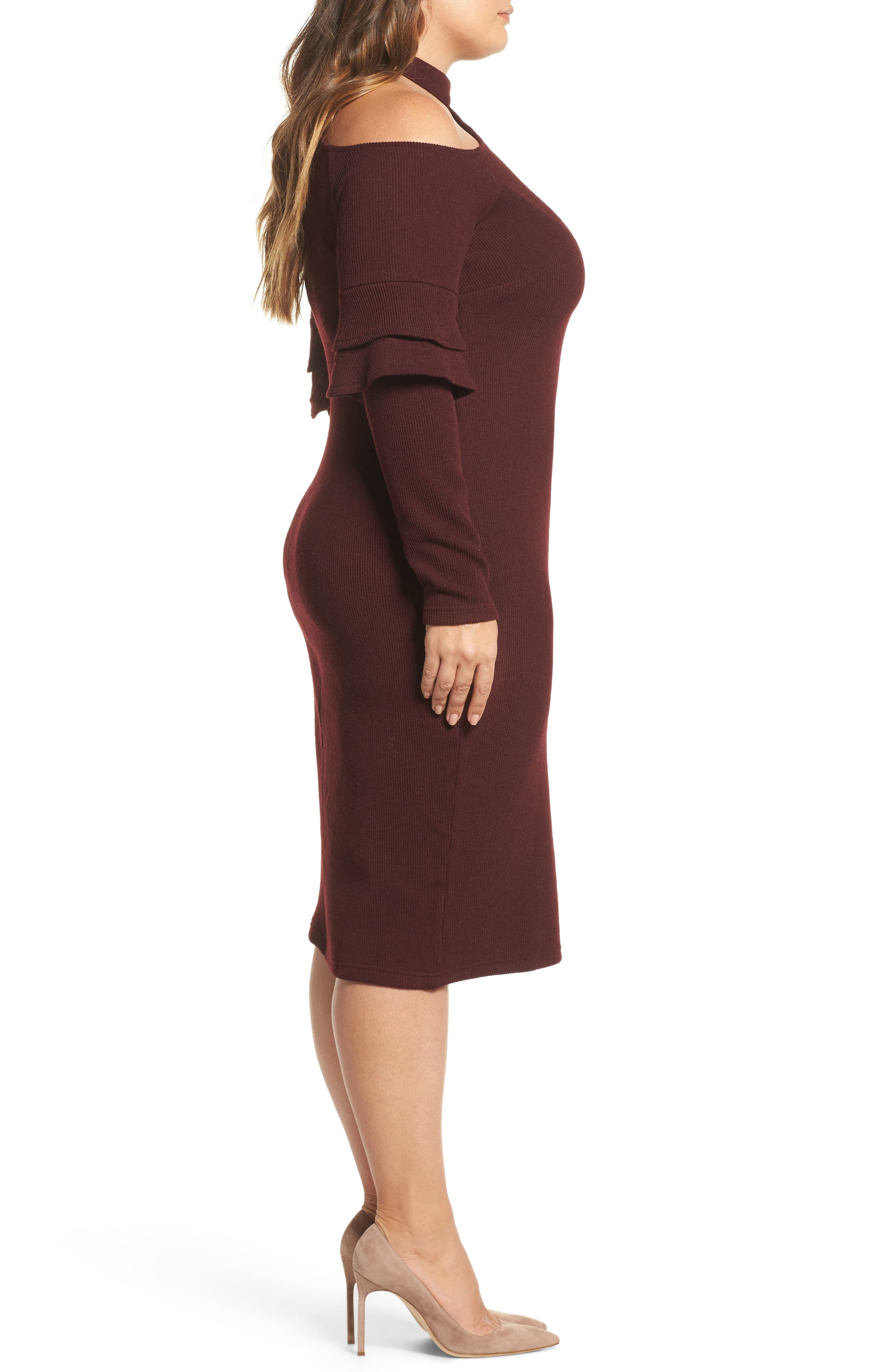 Shoulder Cutout Knit Dress,                             Alternate thumbnail 3, color,                             600