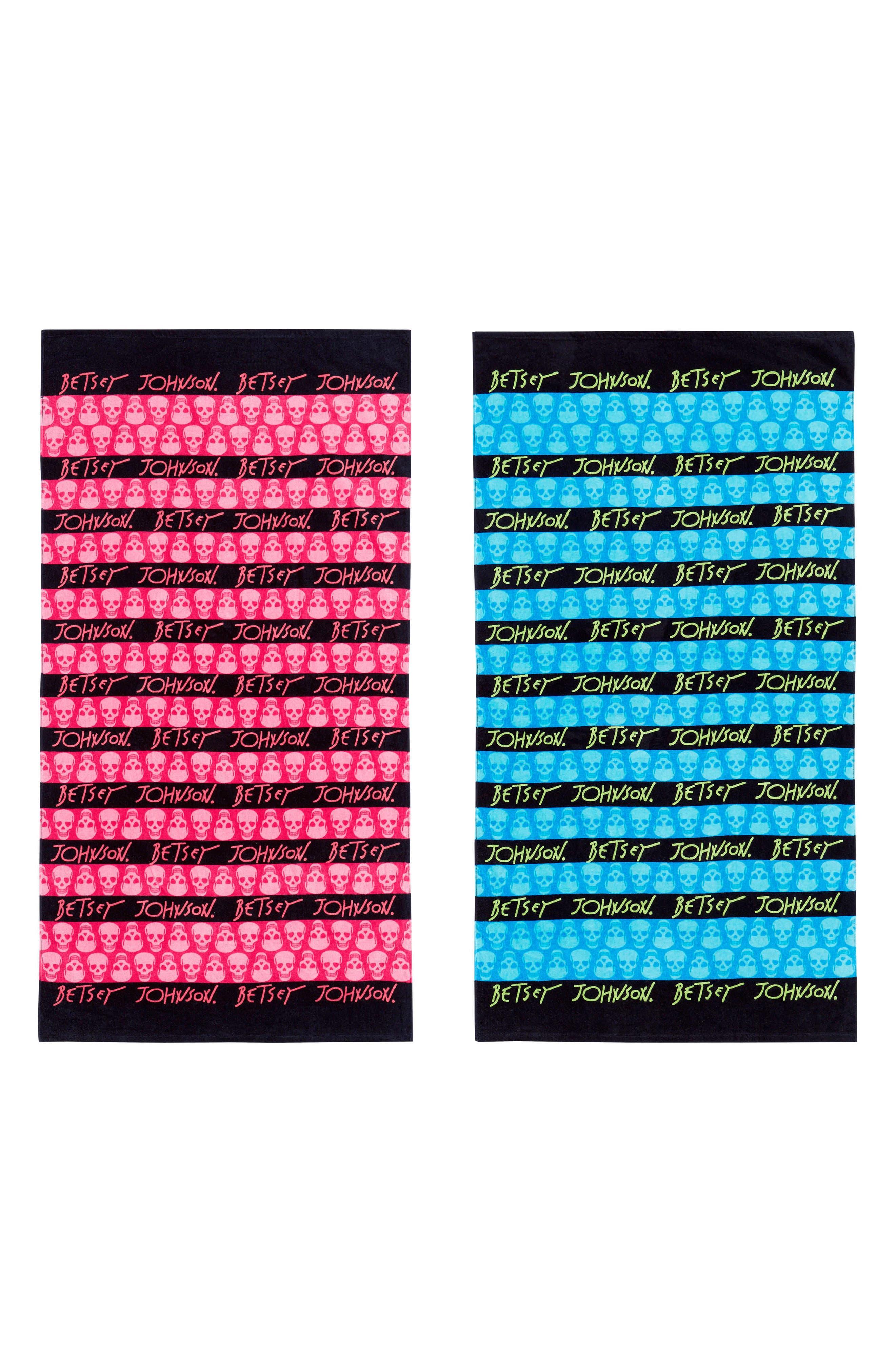 Skull Stripe Beach Towel Set,                             Main thumbnail 1, color,