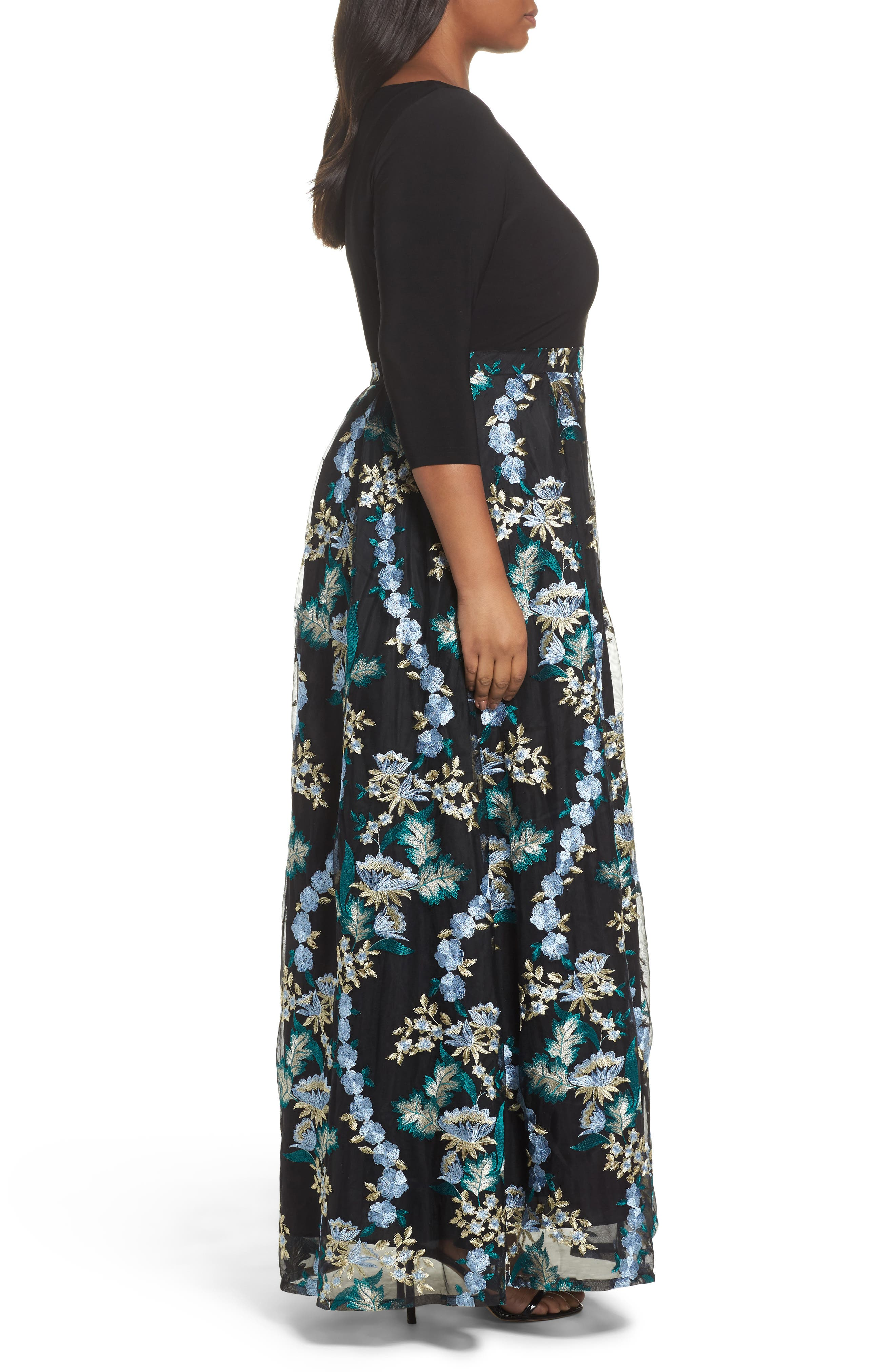 Floral Embroidered Ballgown,                             Alternate thumbnail 3, color,                             480