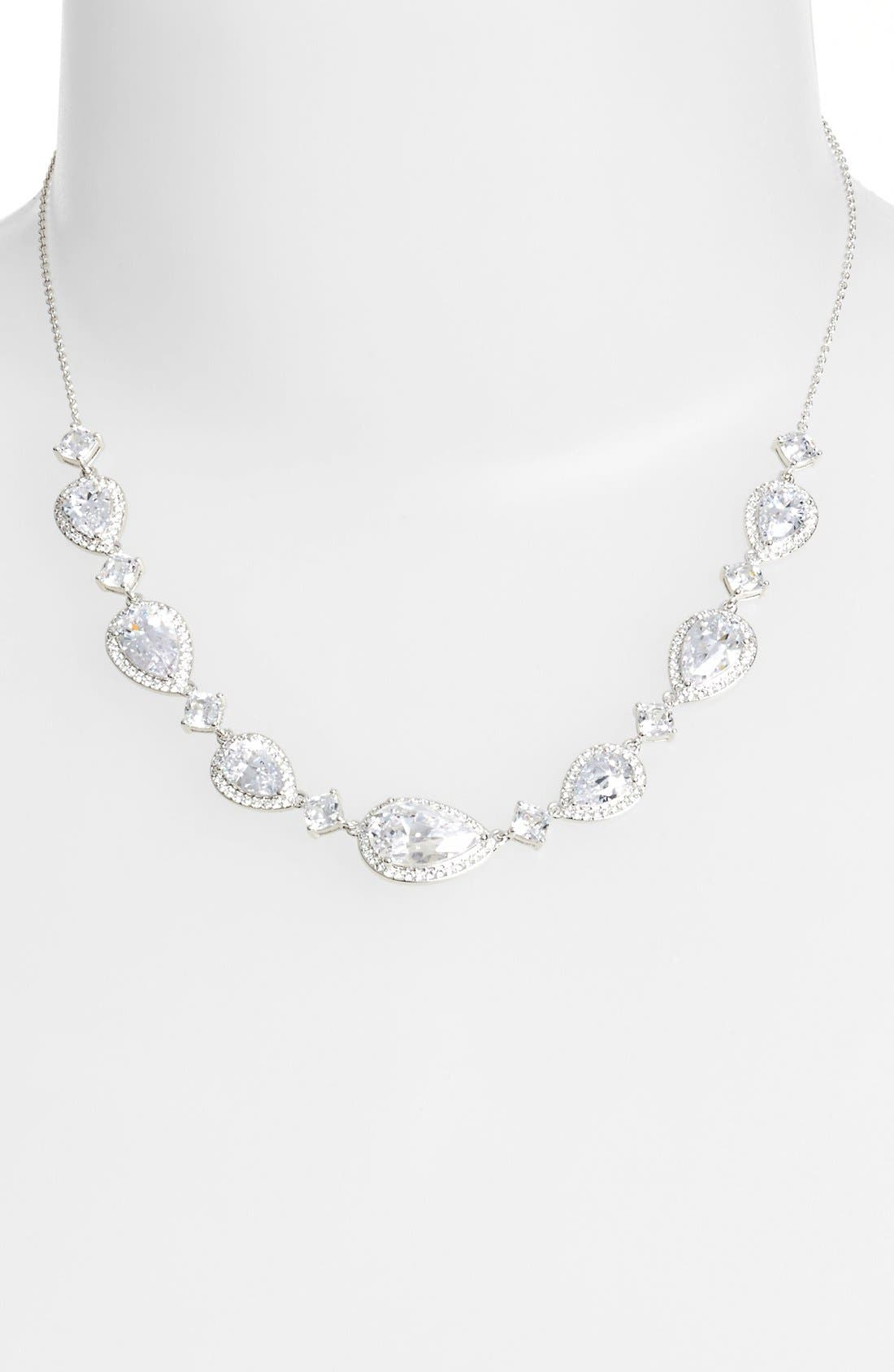 Cubic Zirconia Frontal Necklace,                             Alternate thumbnail 2, color,                             040