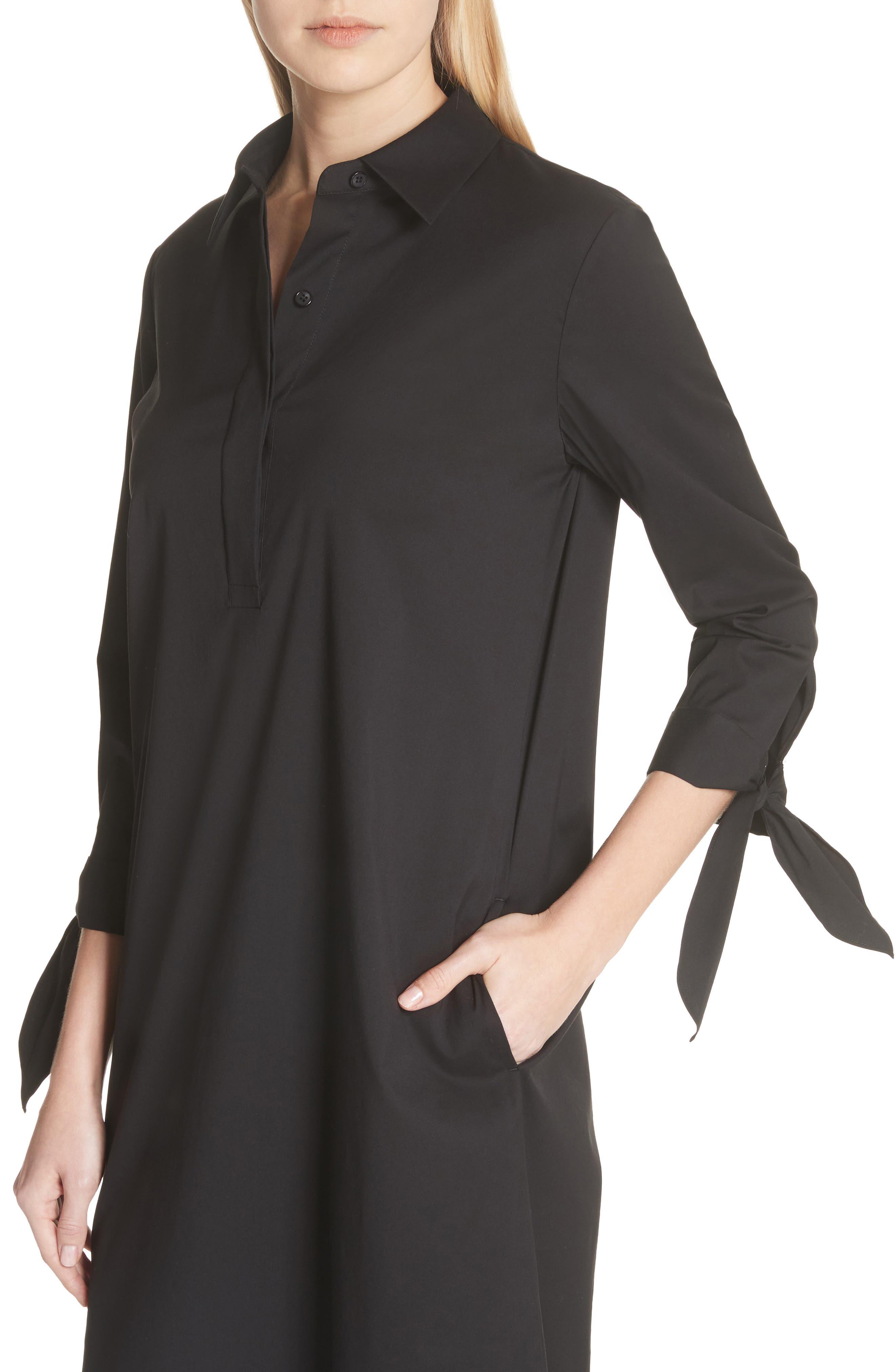 Talia Stretch Cotton Blend Dress,                             Alternate thumbnail 4, color,                             BLACK