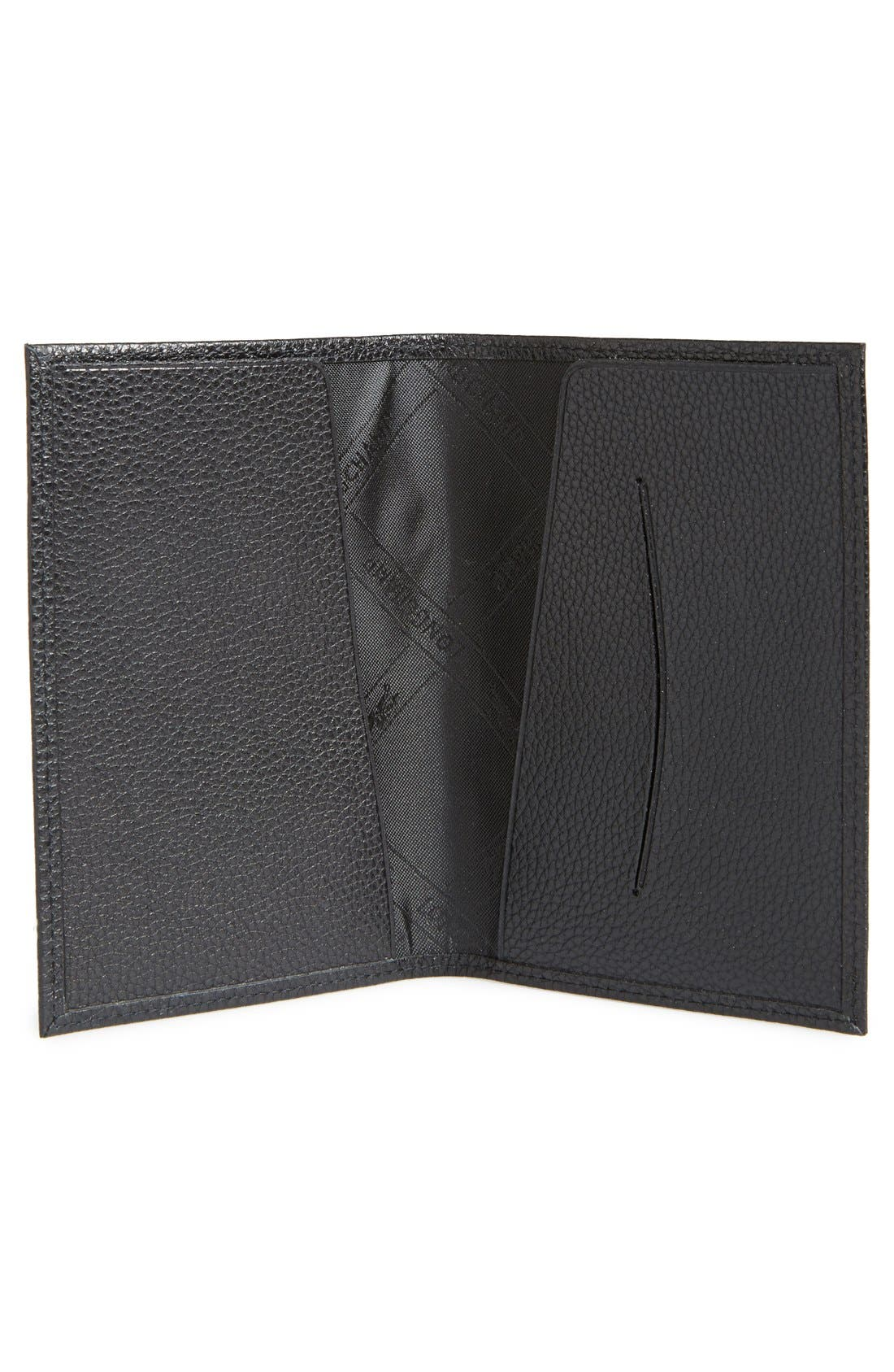 Leather Passport Case,                             Alternate thumbnail 2, color,                             BLACK
