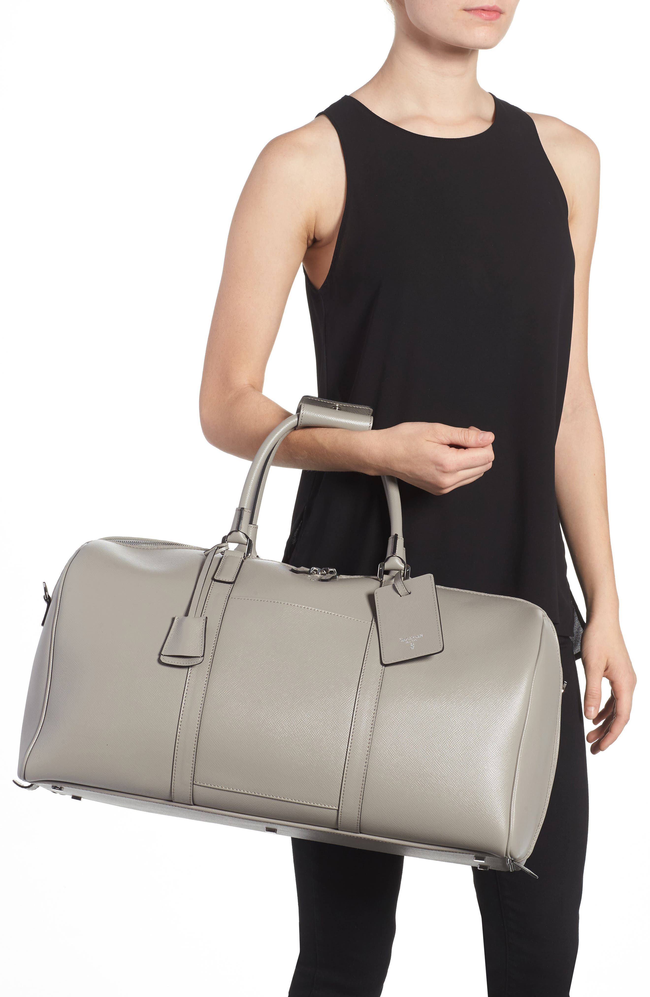Small Evolution Leather Duffel Bag,                             Alternate thumbnail 5, color,