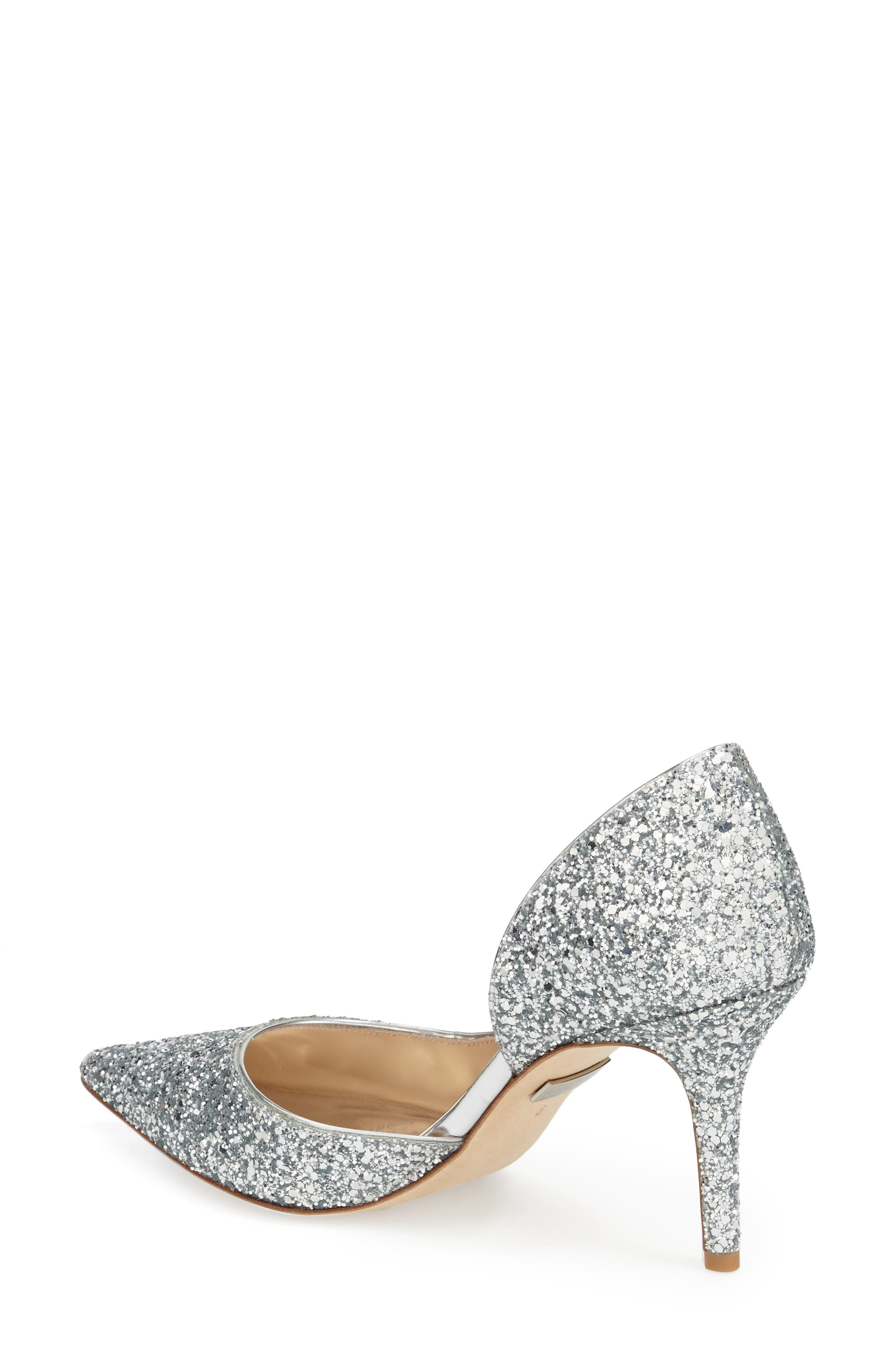 'Daisy' Embellished Pointy Toe Pump,                             Alternate thumbnail 5, color,                             SILVER GLITTER FABRIC