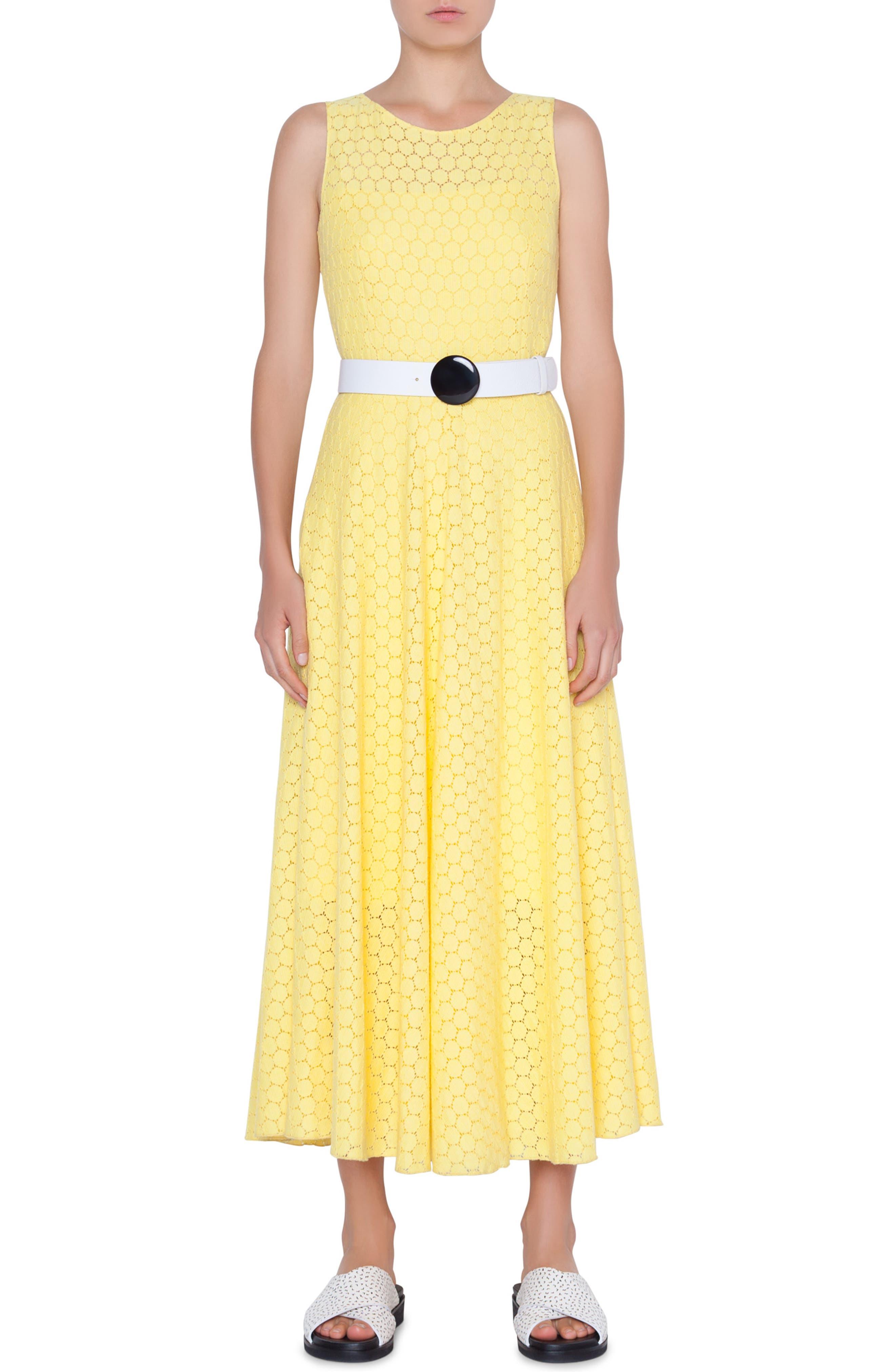 AKRIS PUNTO Belted Lace Dress, Main, color, LIMONE