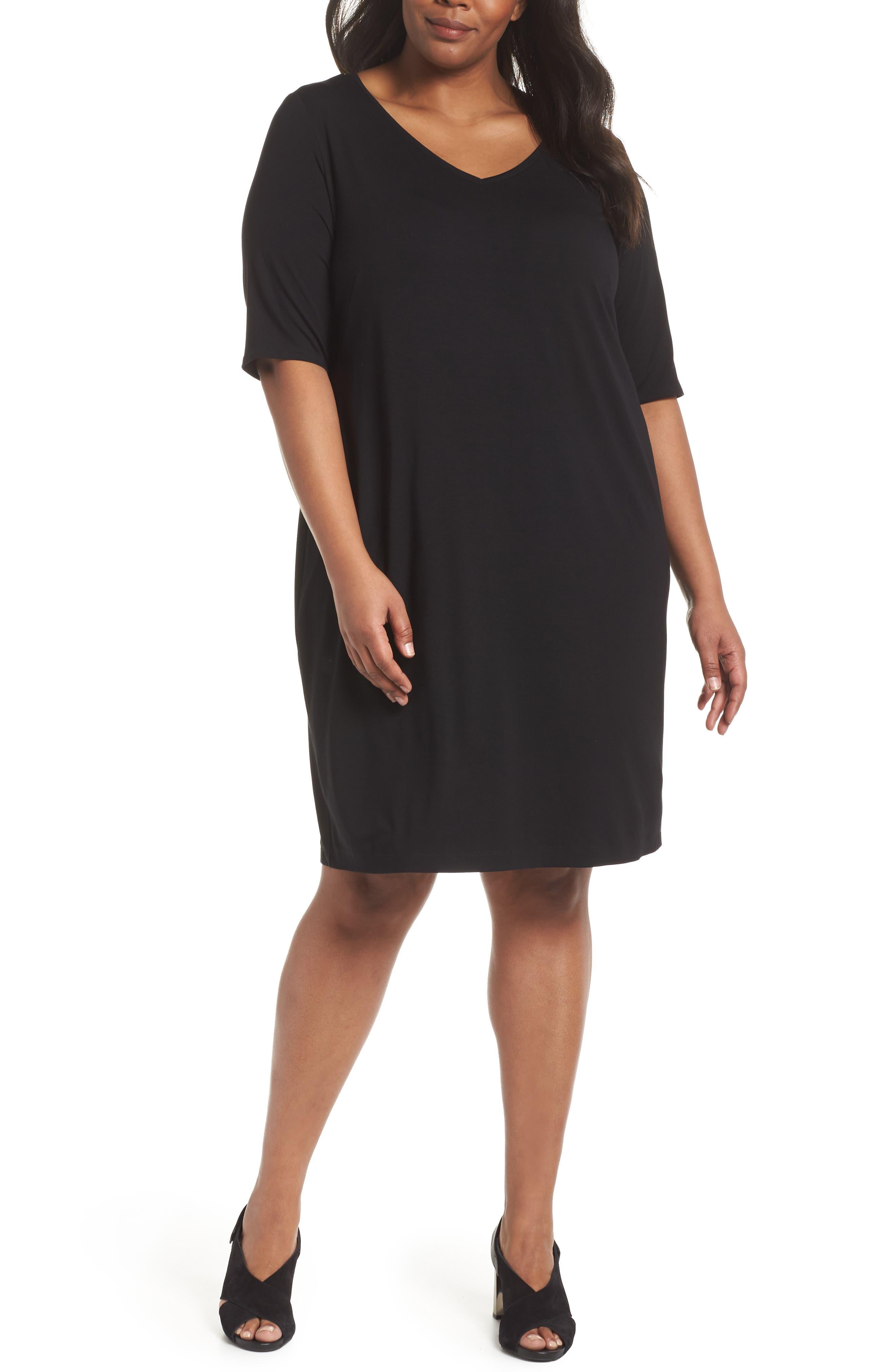 V-Neck Stretch Jersey Shift Dress,                             Main thumbnail 1, color,