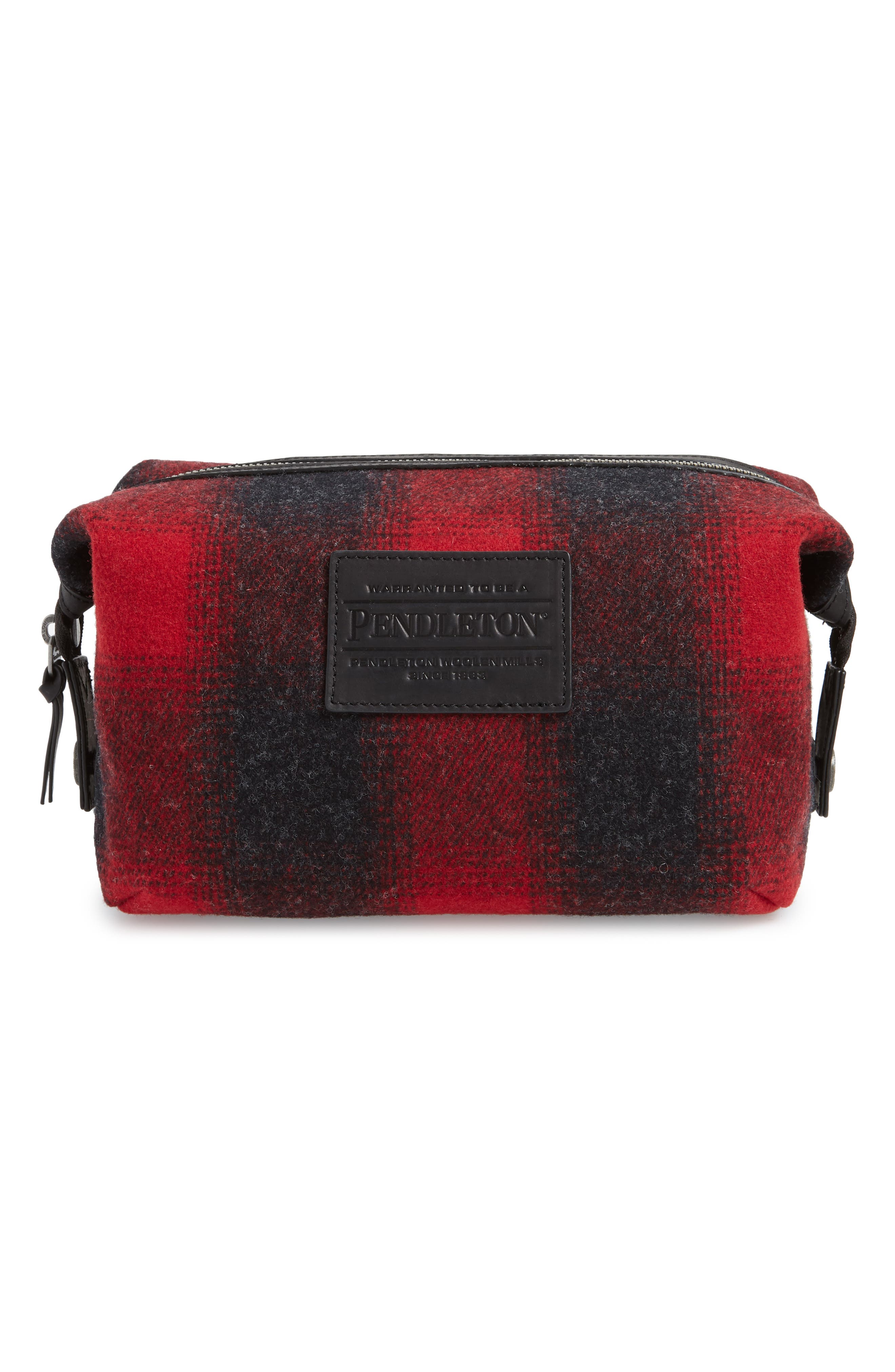 PENDLETON Essential Travel Pouch in Red Charcoal Mix