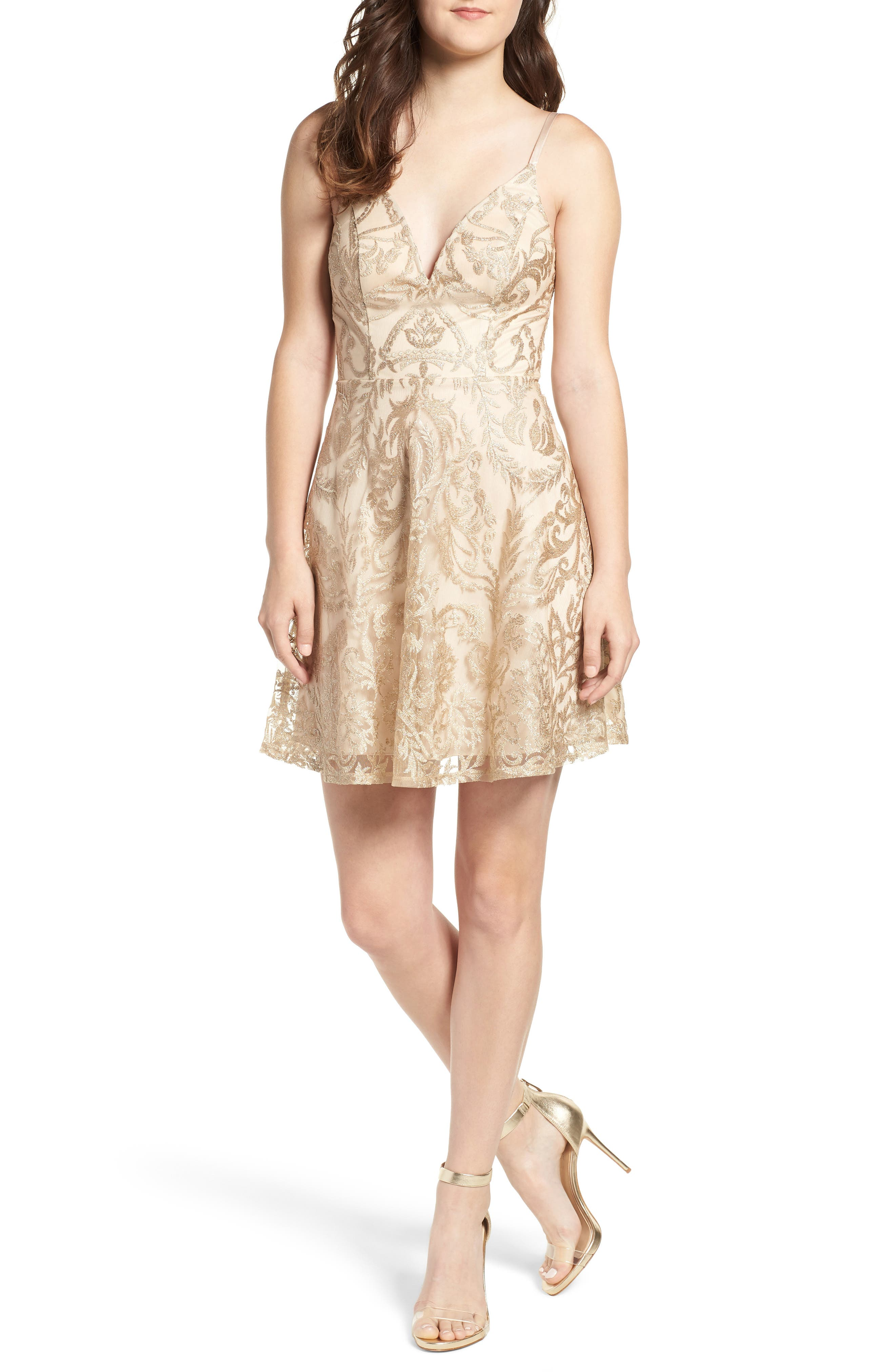 Speechless Embroidered Fit & Flare Dress, Blue