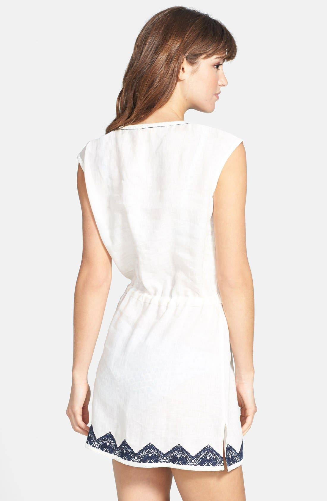 TORY BURCH,                             'Margherita' Embroidered Linen Dress,                             Alternate thumbnail 3, color,                             900