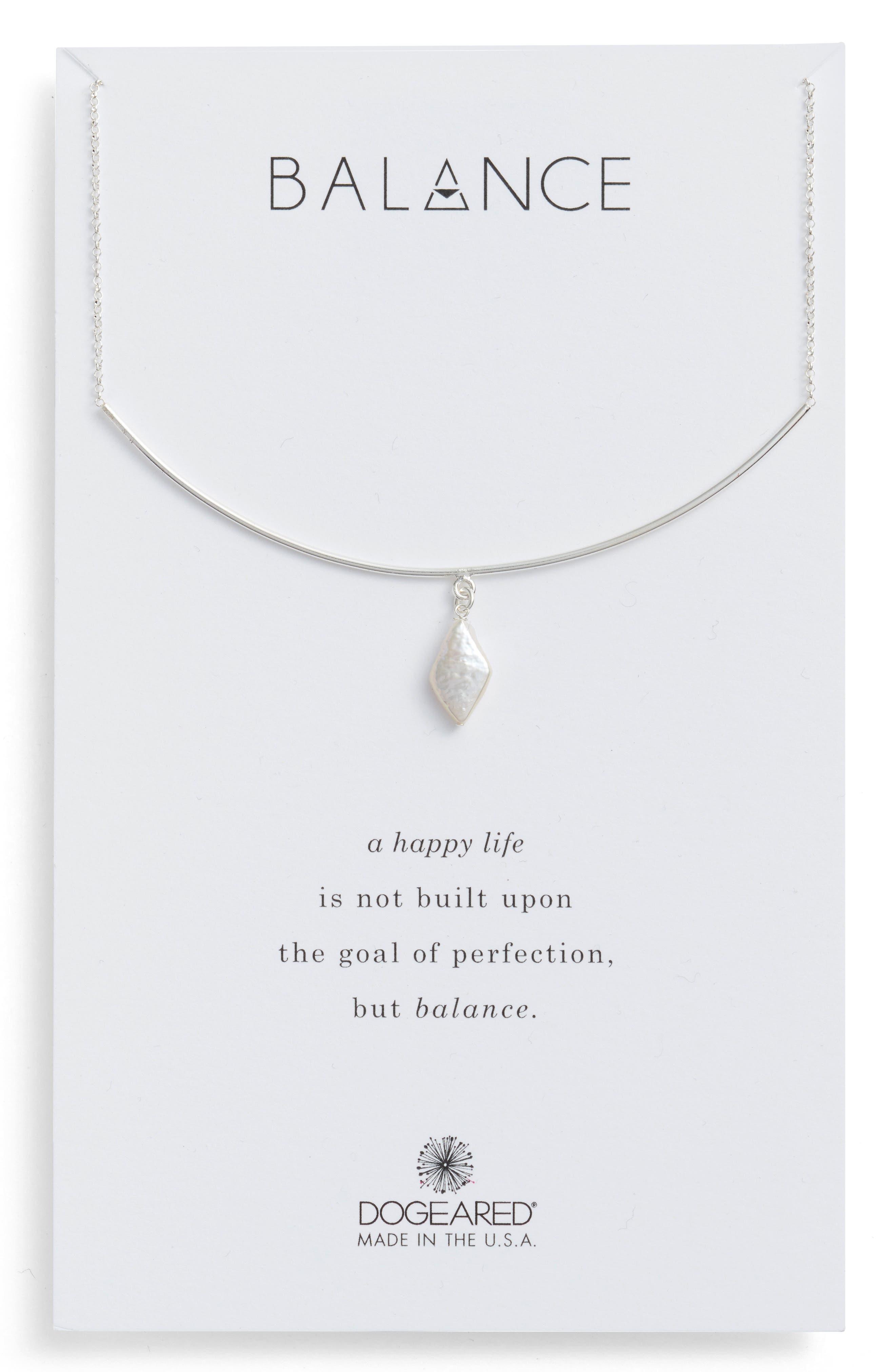 Balance Pearl Bar Necklace,                             Main thumbnail 1, color,                             040