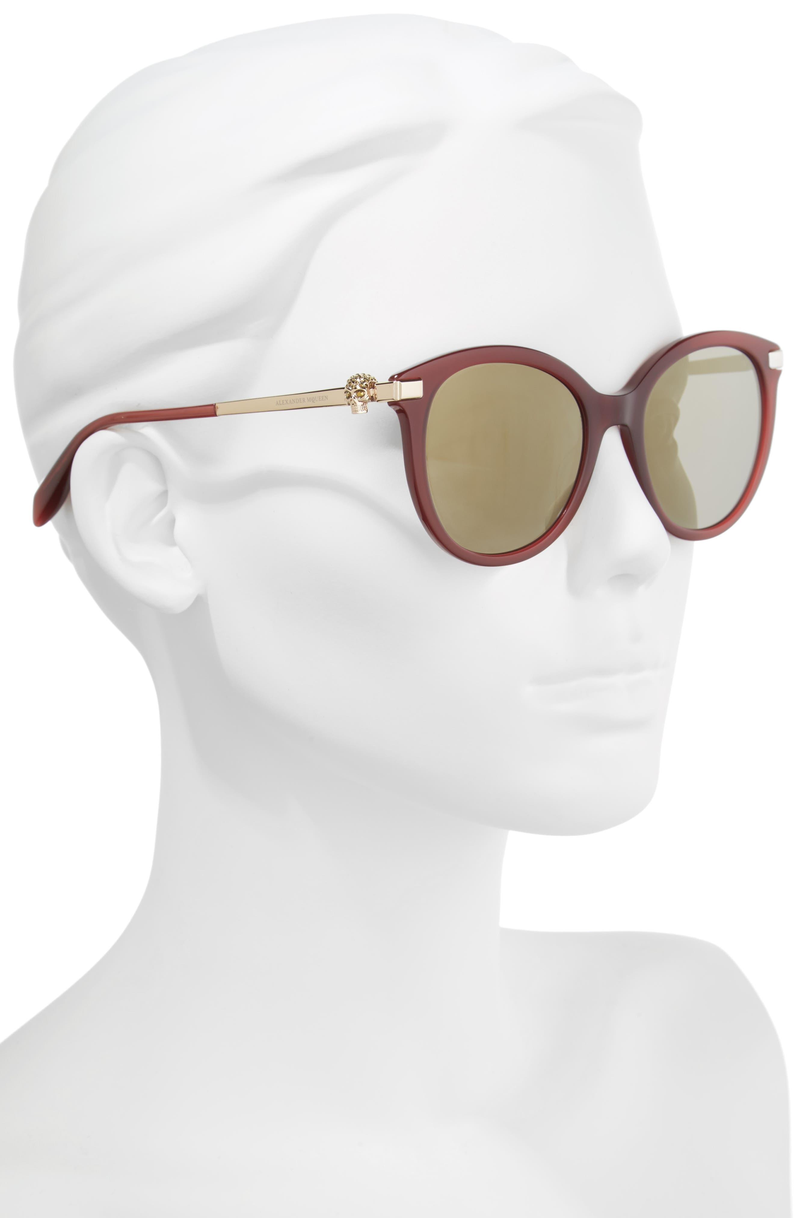 53mm Rounded Cat Eye Sunglasses,                             Alternate thumbnail 2, color,                             BURGUNDY