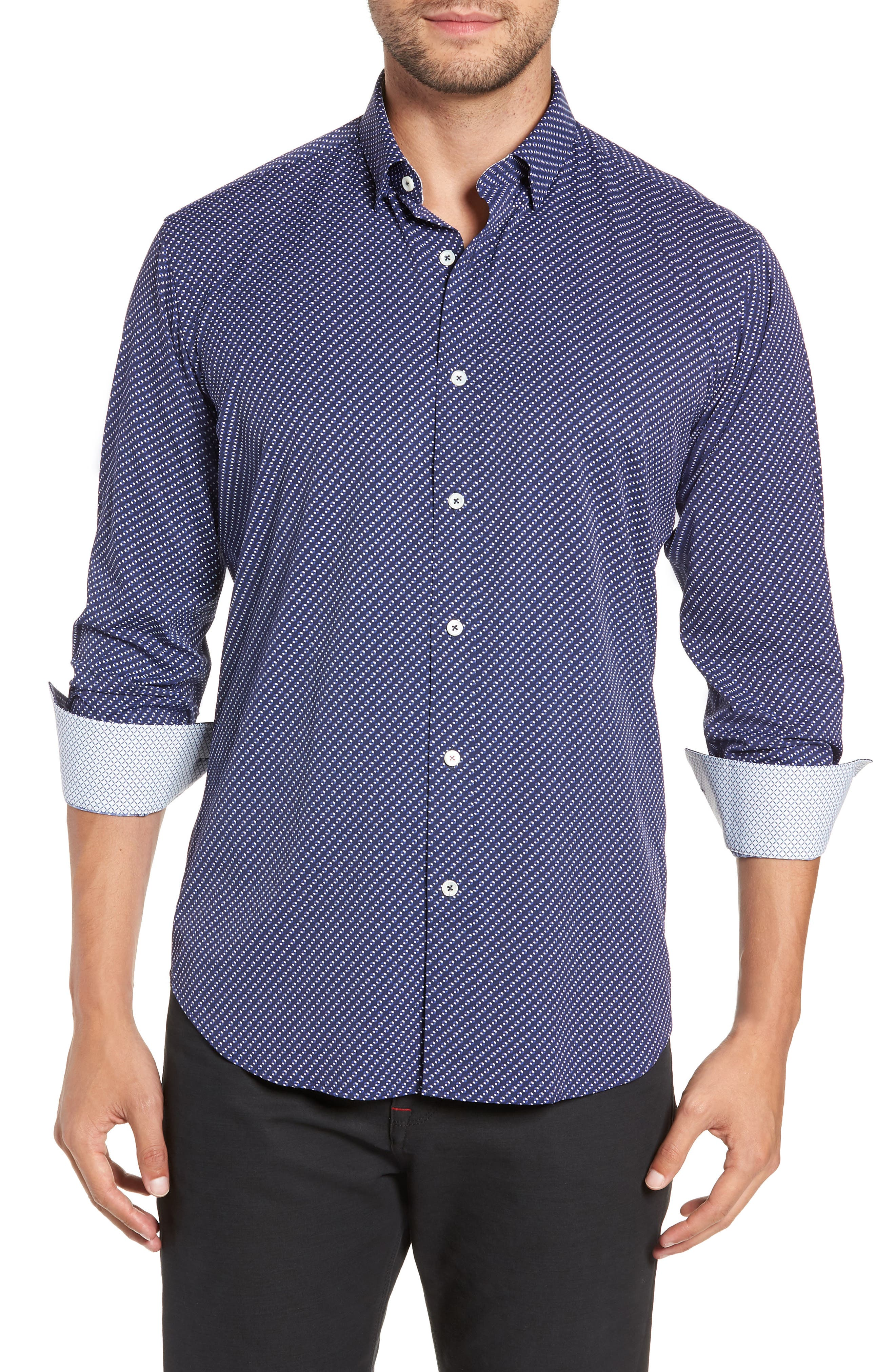 Shaped Fit Performance Sport Shirt,                         Main,                         color, NAVY