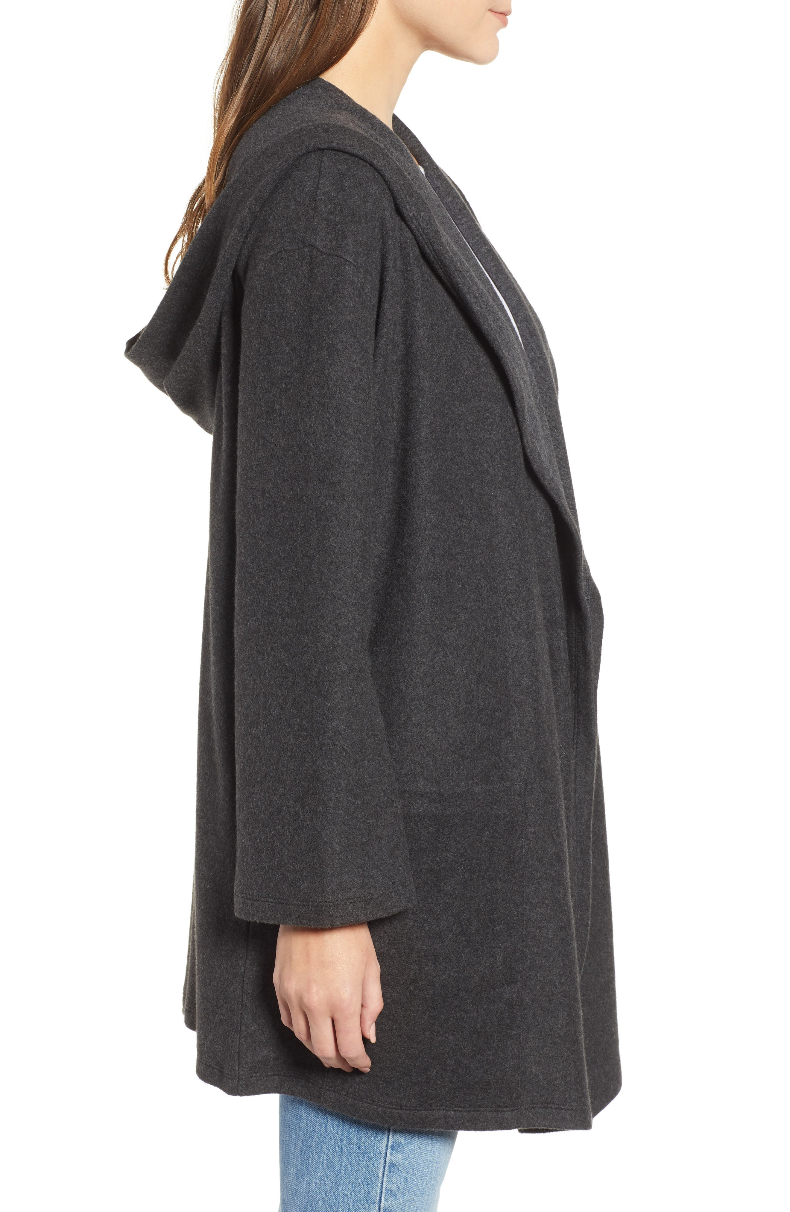 Hooded Open Front Cardigan,                             Alternate thumbnail 3, color,                             GREY DARK CHARCOAL HEATHER