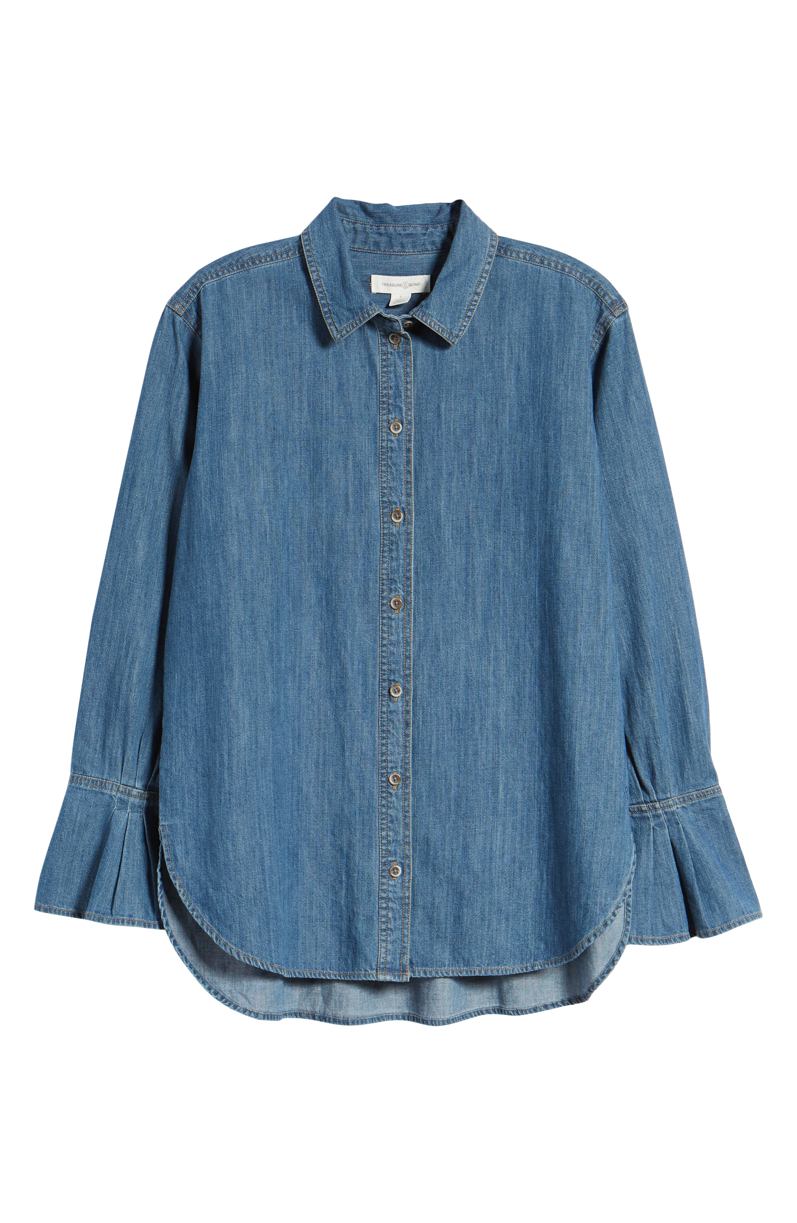 TREASURE & BOND,                             Pleated Cuff Chambray Shirt,                             Alternate thumbnail 6, color,                             420