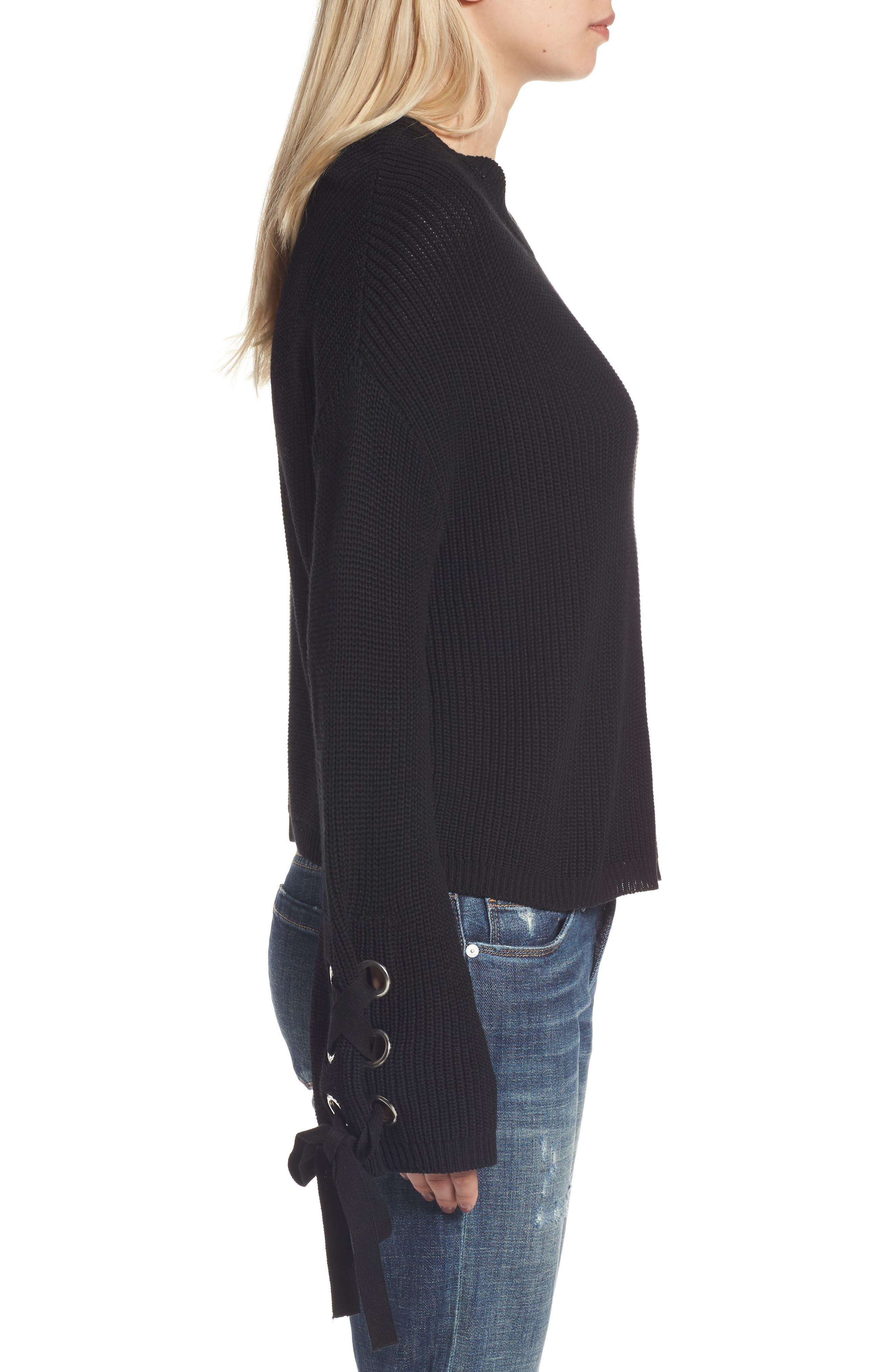 Grommet Sleeve Pullover,                             Alternate thumbnail 3, color,                             001