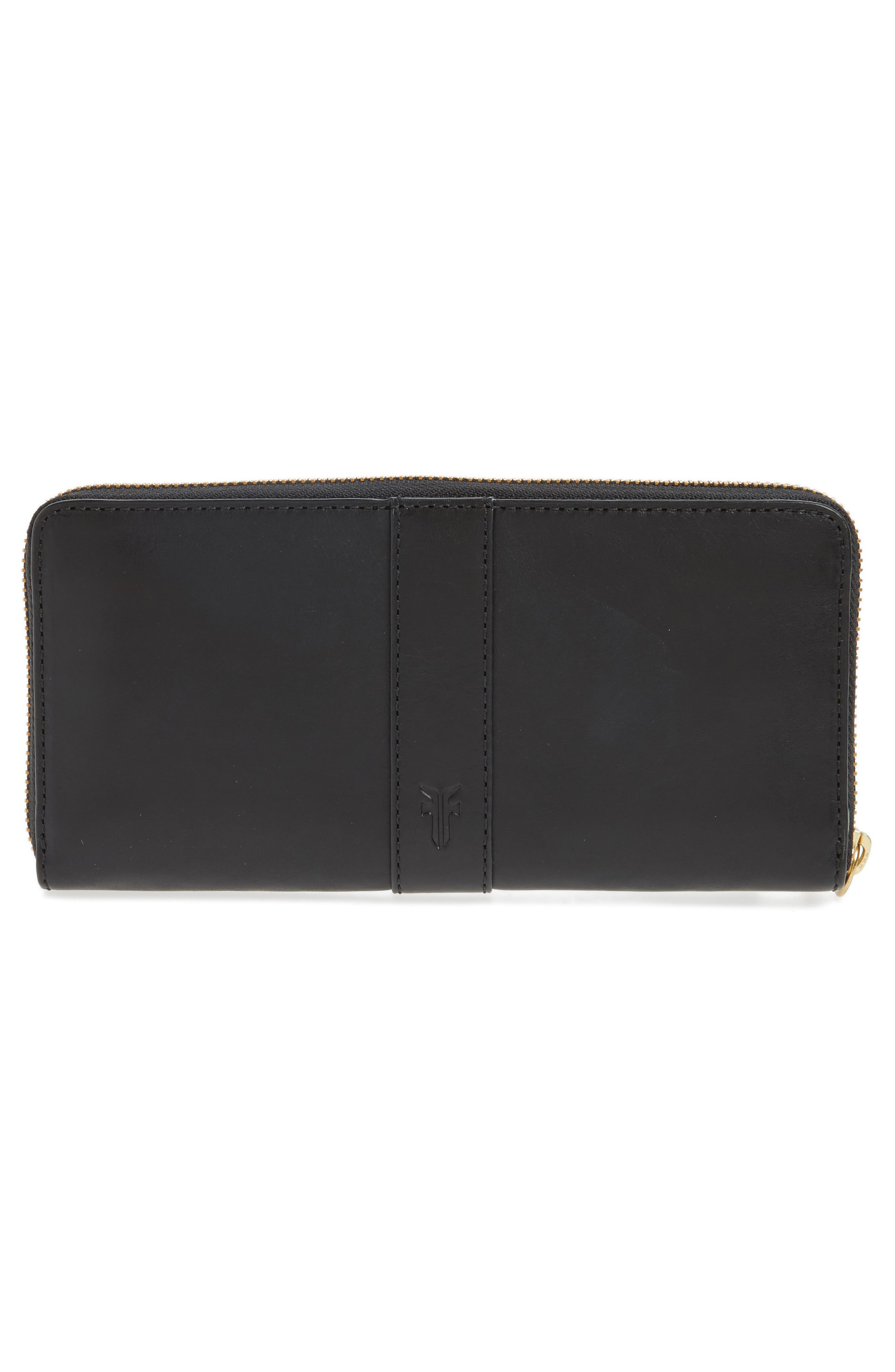 Ilana Harness Leather Zip Wallet,                             Alternate thumbnail 3, color,                             001