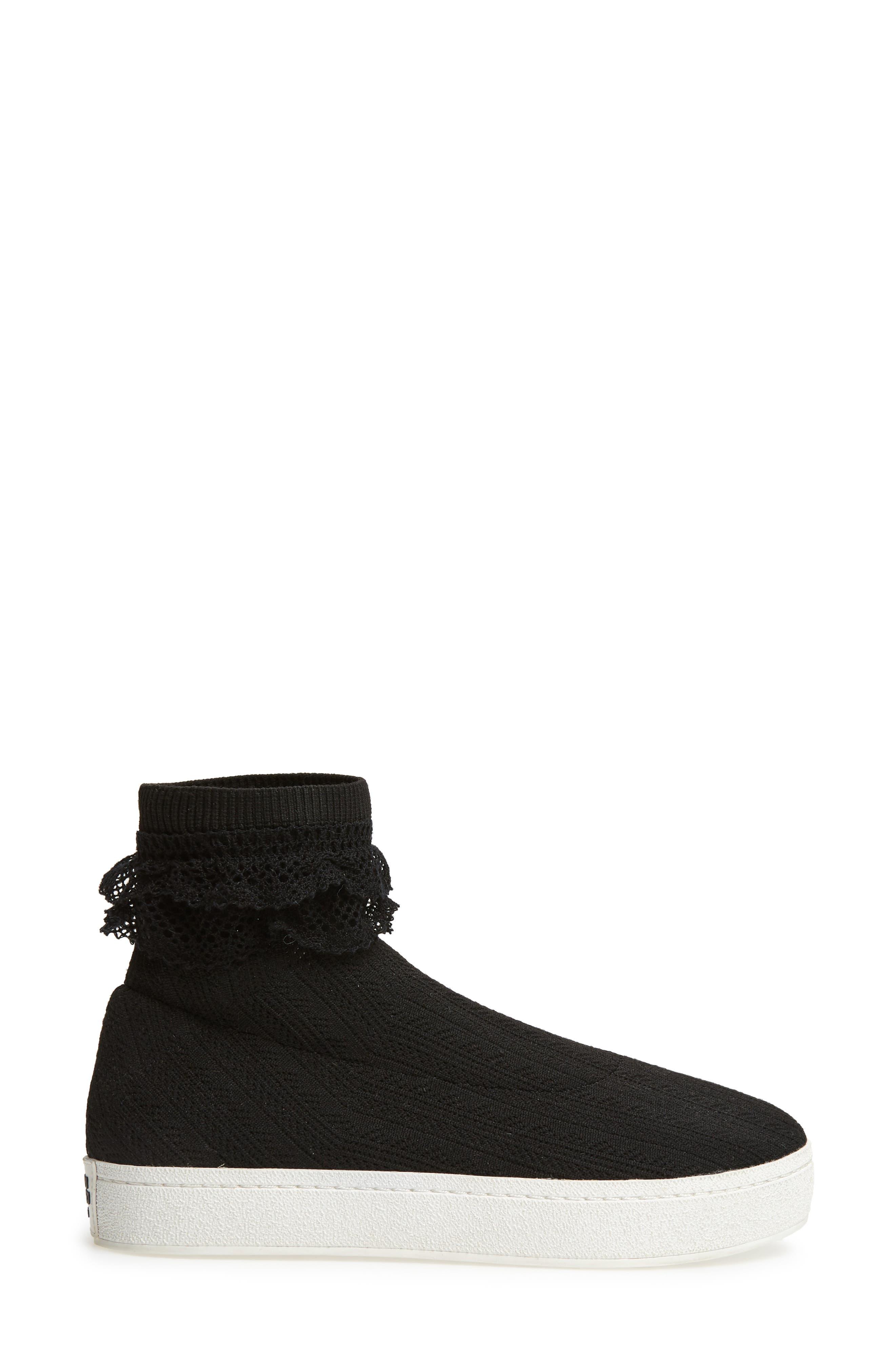 Bobby Sock Knit Sneaker,                             Alternate thumbnail 3, color,                             BLACK