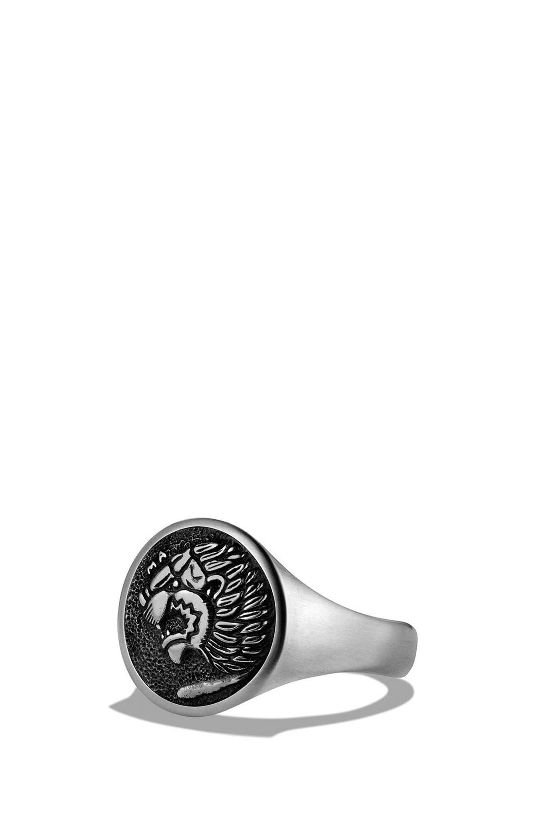 'Petrvs' Lion Signet Pinky Ring,                             Main thumbnail 1, color,                             SILVER