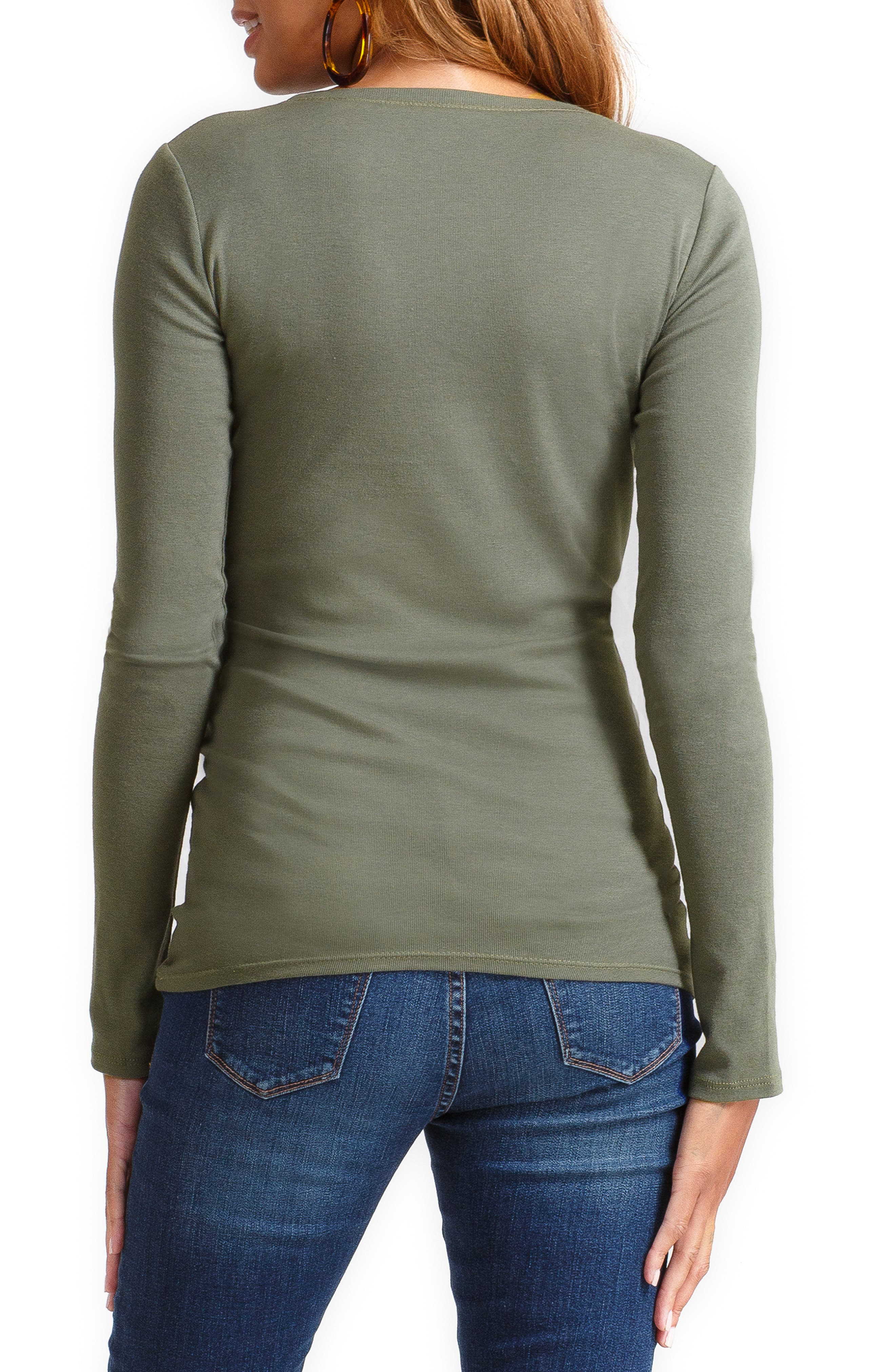 Scoop Neck Maternity Tee,                             Alternate thumbnail 2, color,                             OLIVE