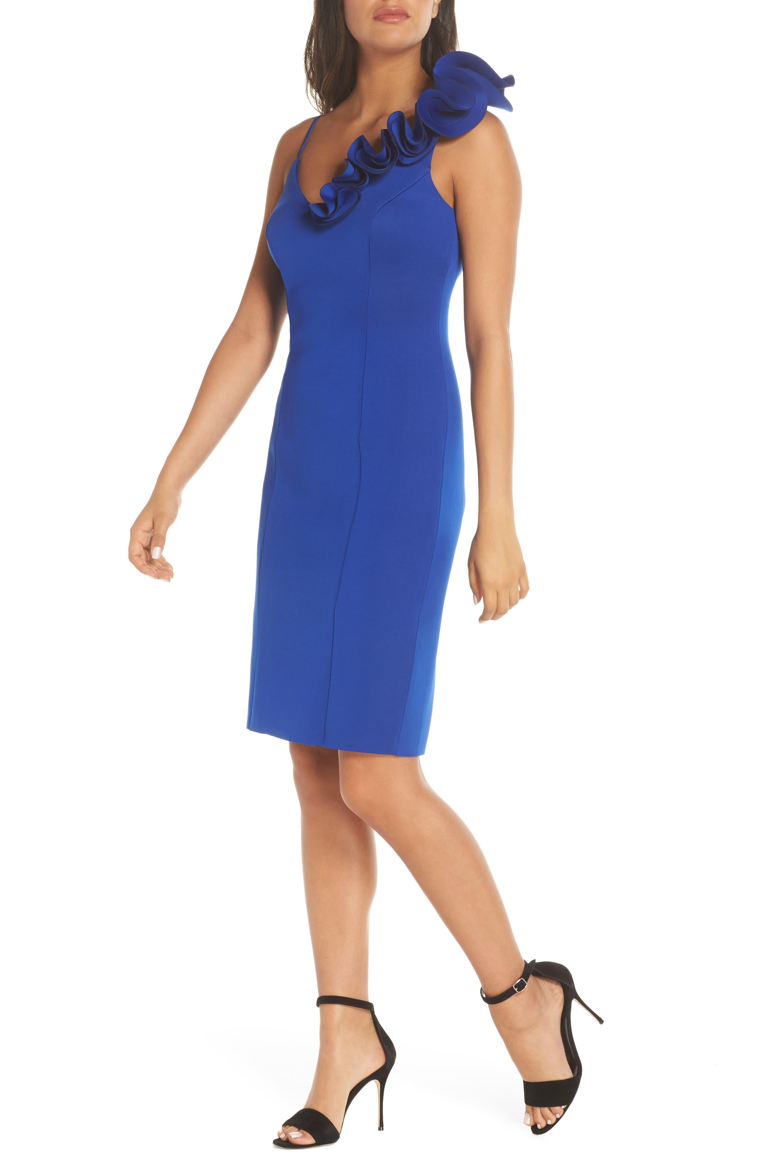 Eliza J Ruffle Shoulder Scuba Crepe Dress, Blue