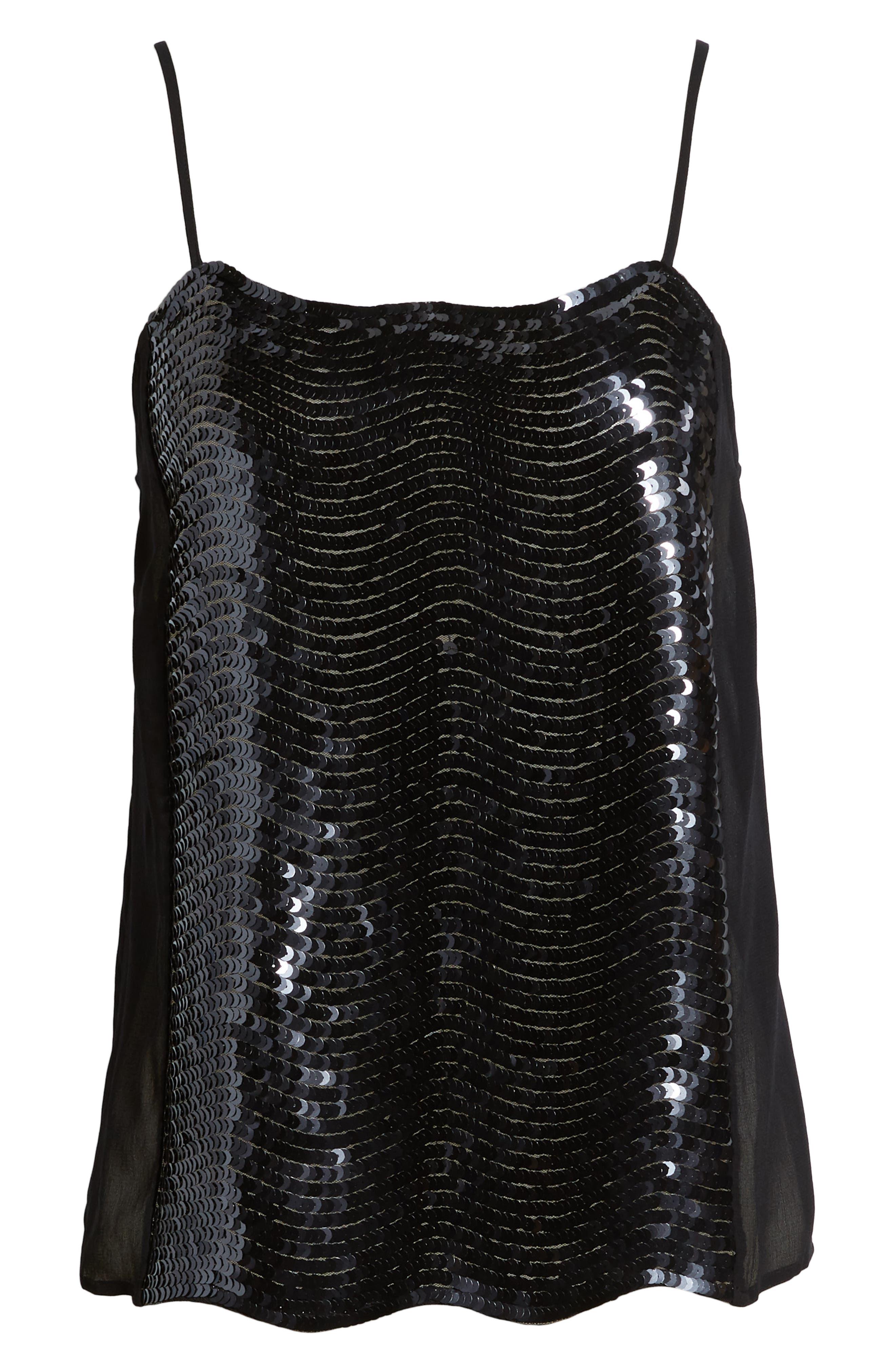 Sequin Camisole,                             Alternate thumbnail 6, color,                             BLACK- NAVY SEQUIN COMBO