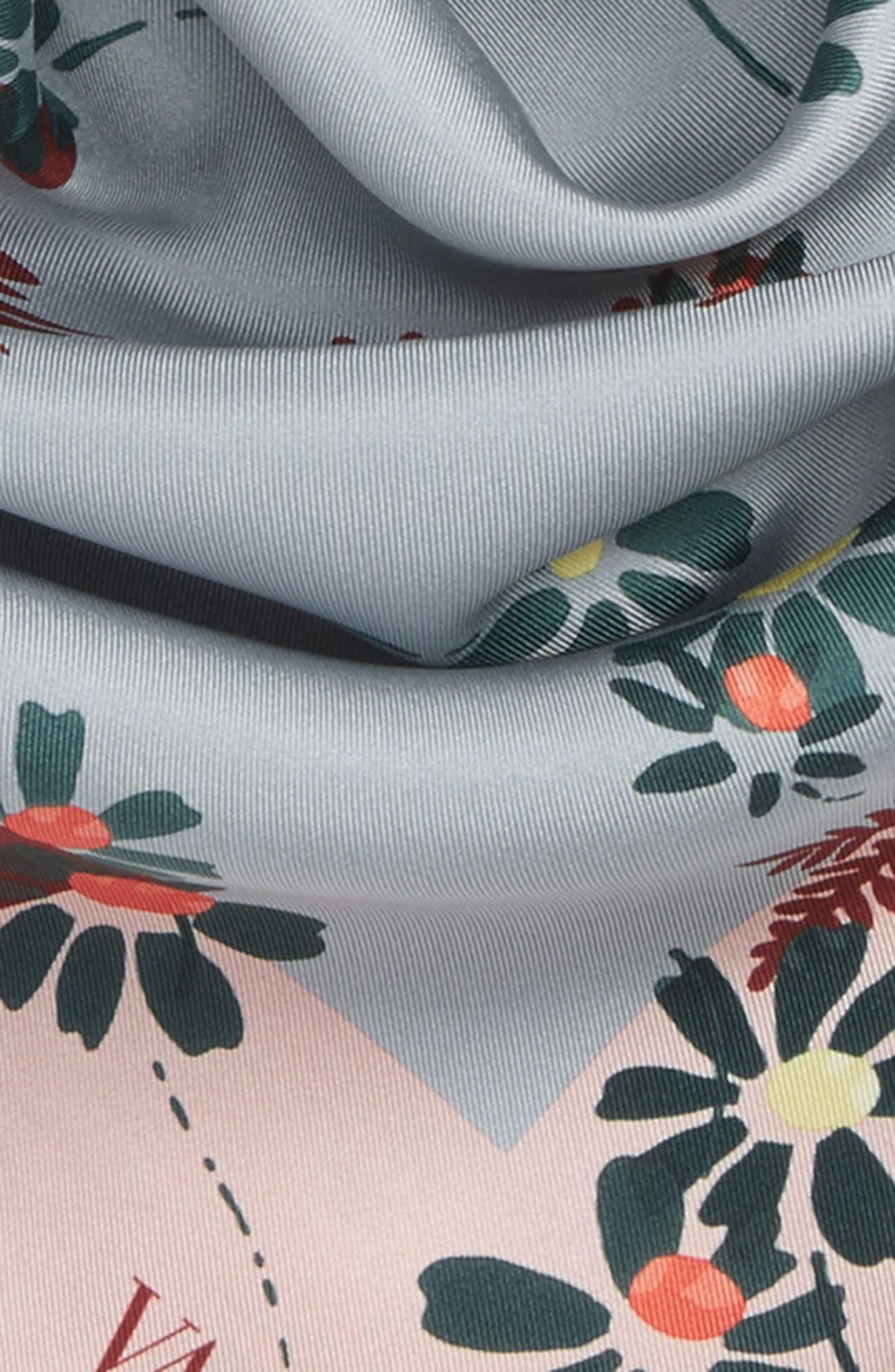 Flowers Fall Silk Scarf,                             Alternate thumbnail 3, color,                             400