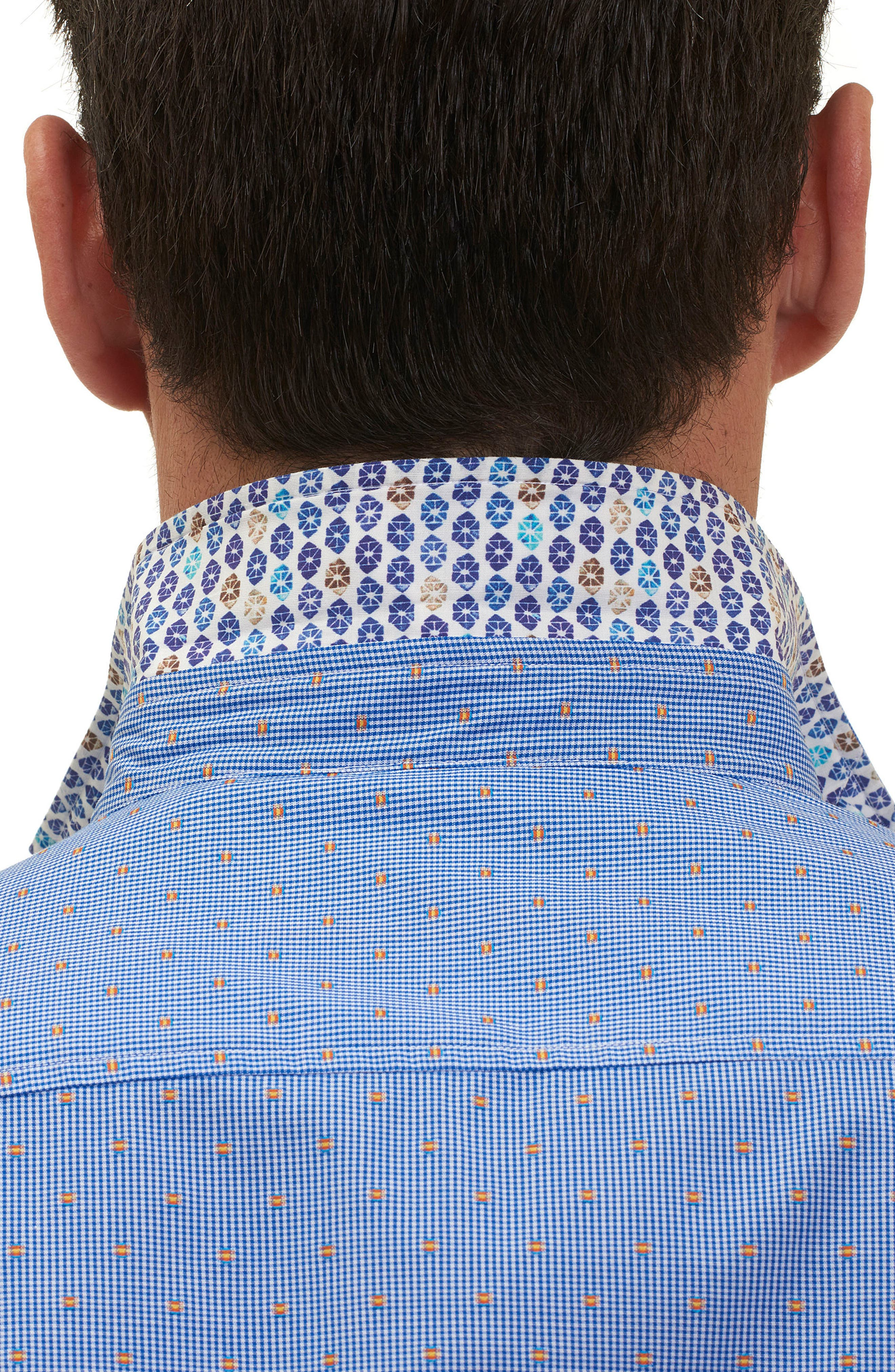 Tailored Fit Houndstooth Sport Shirt,                             Alternate thumbnail 10, color,