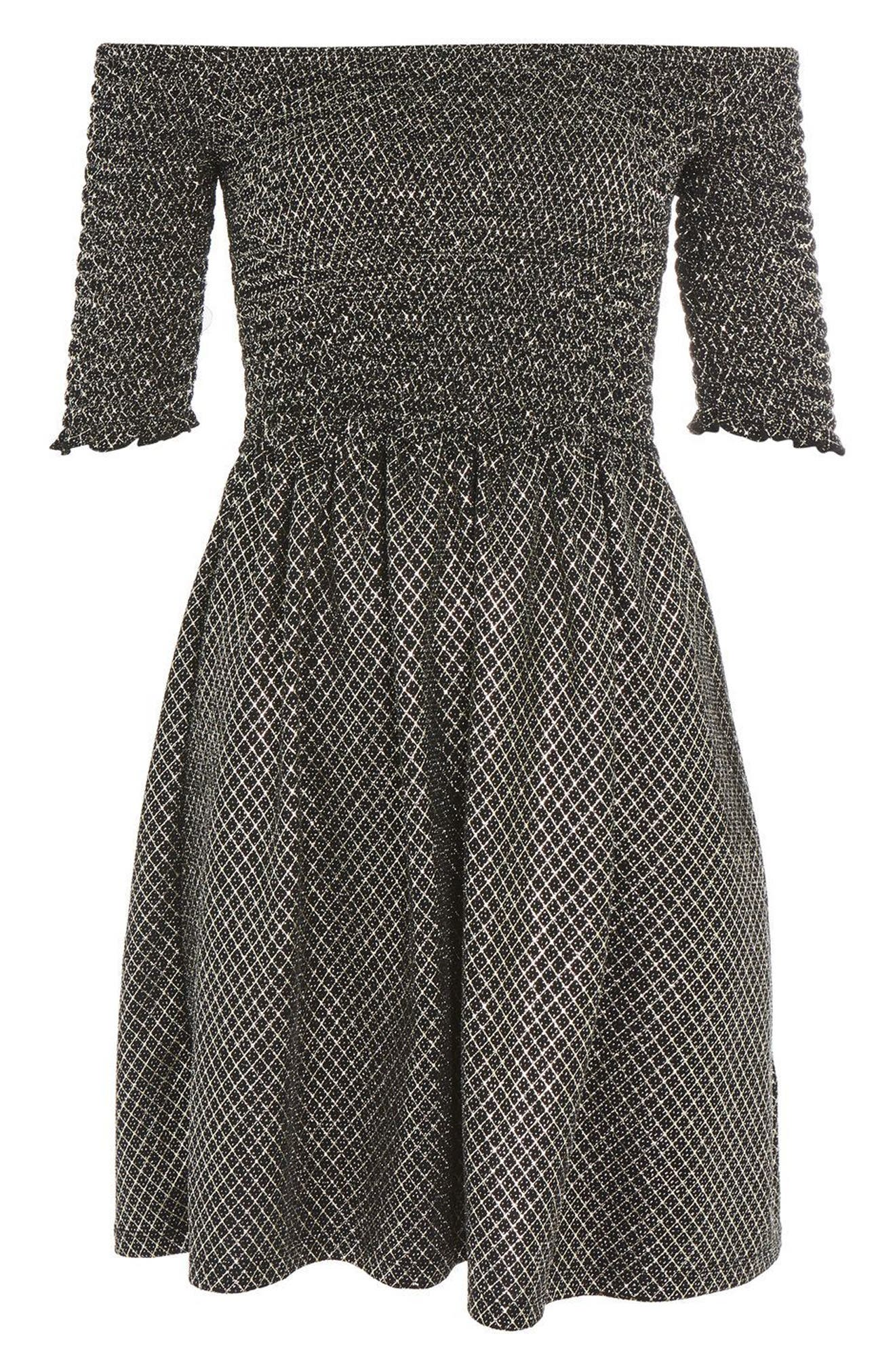 Smocked Off the Shoulder Dress,                             Alternate thumbnail 4, color,