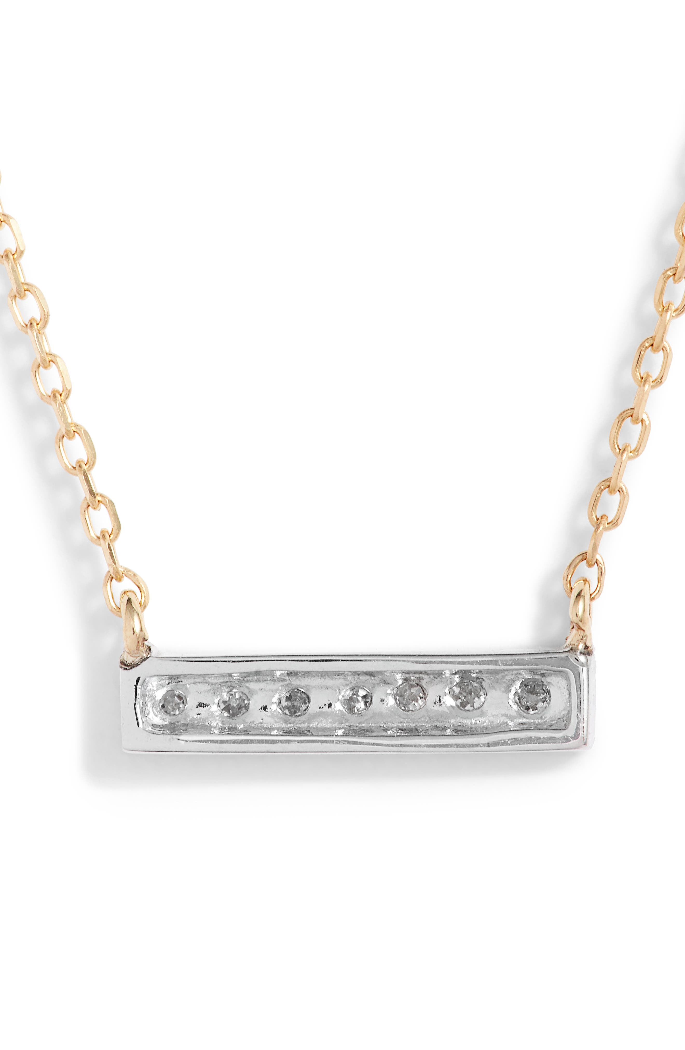 'Sylvie Rose' Diamond Bar Pendant Necklace,                             Alternate thumbnail 7, color,                             YELLOW GOLD