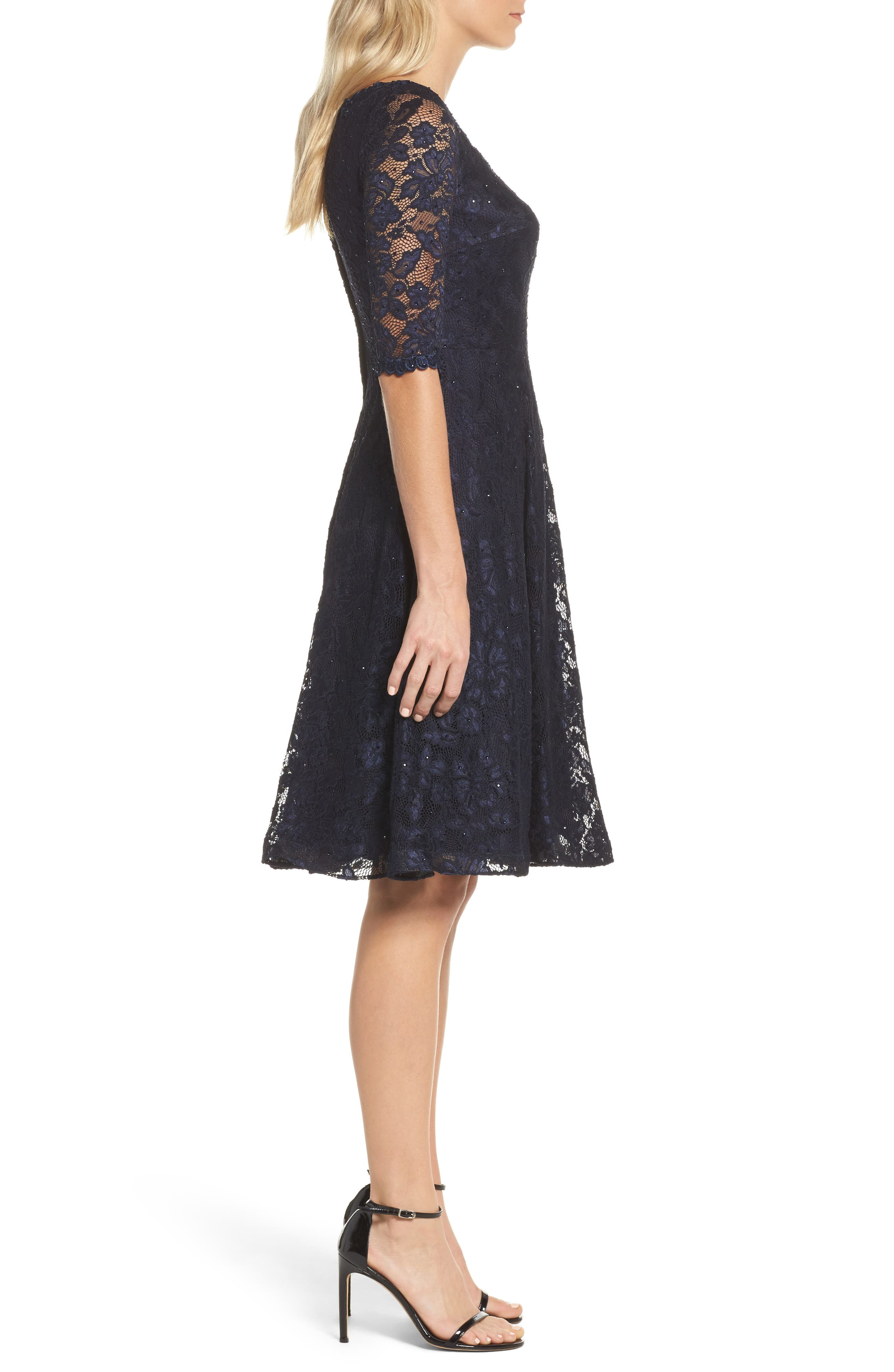 Fit & Flare Lace Dress,                             Alternate thumbnail 3, color,                             NAVY