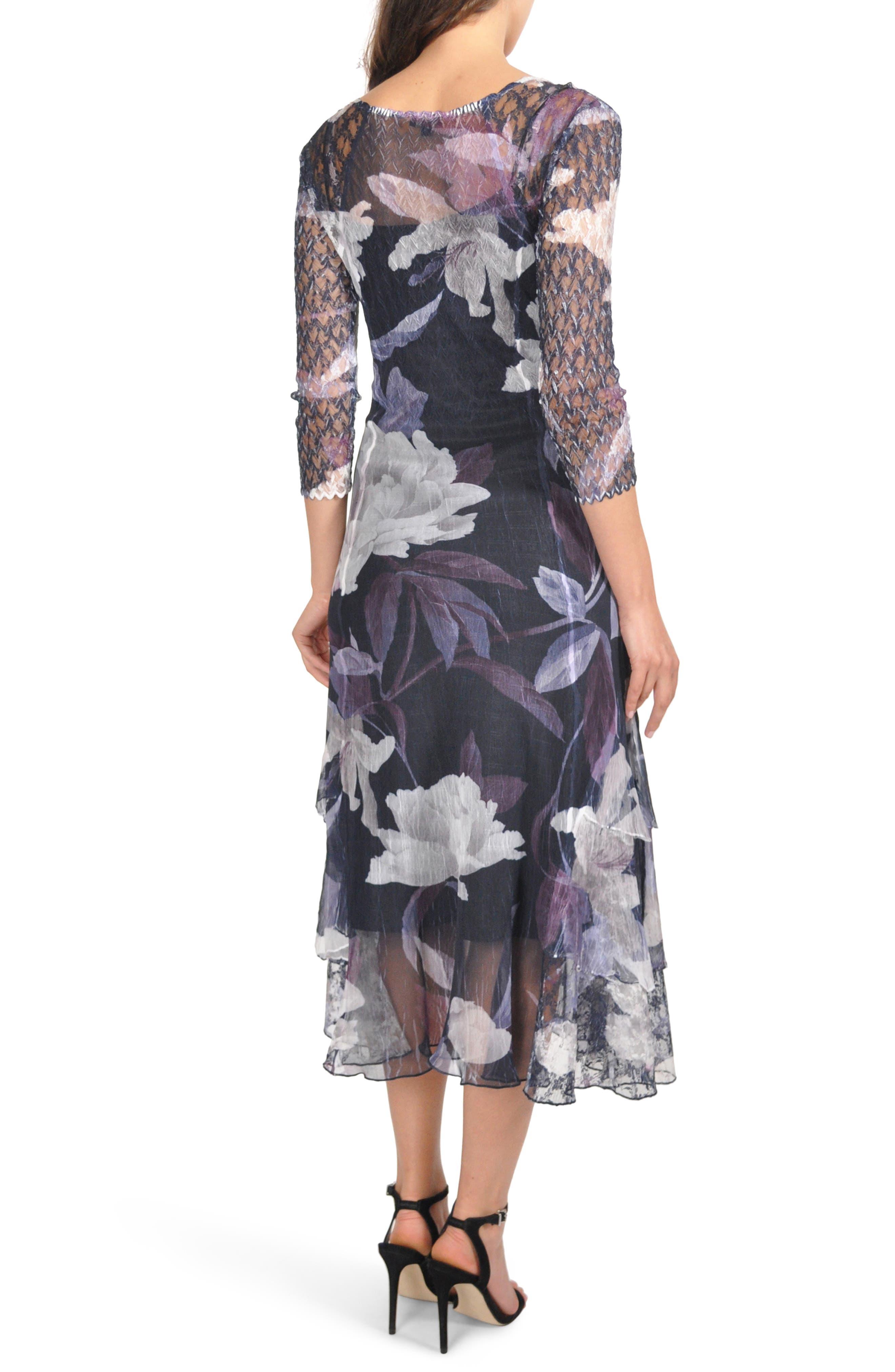 Floral Tiered Hem Dress,                             Alternate thumbnail 2, color,                             VIOLET VINE