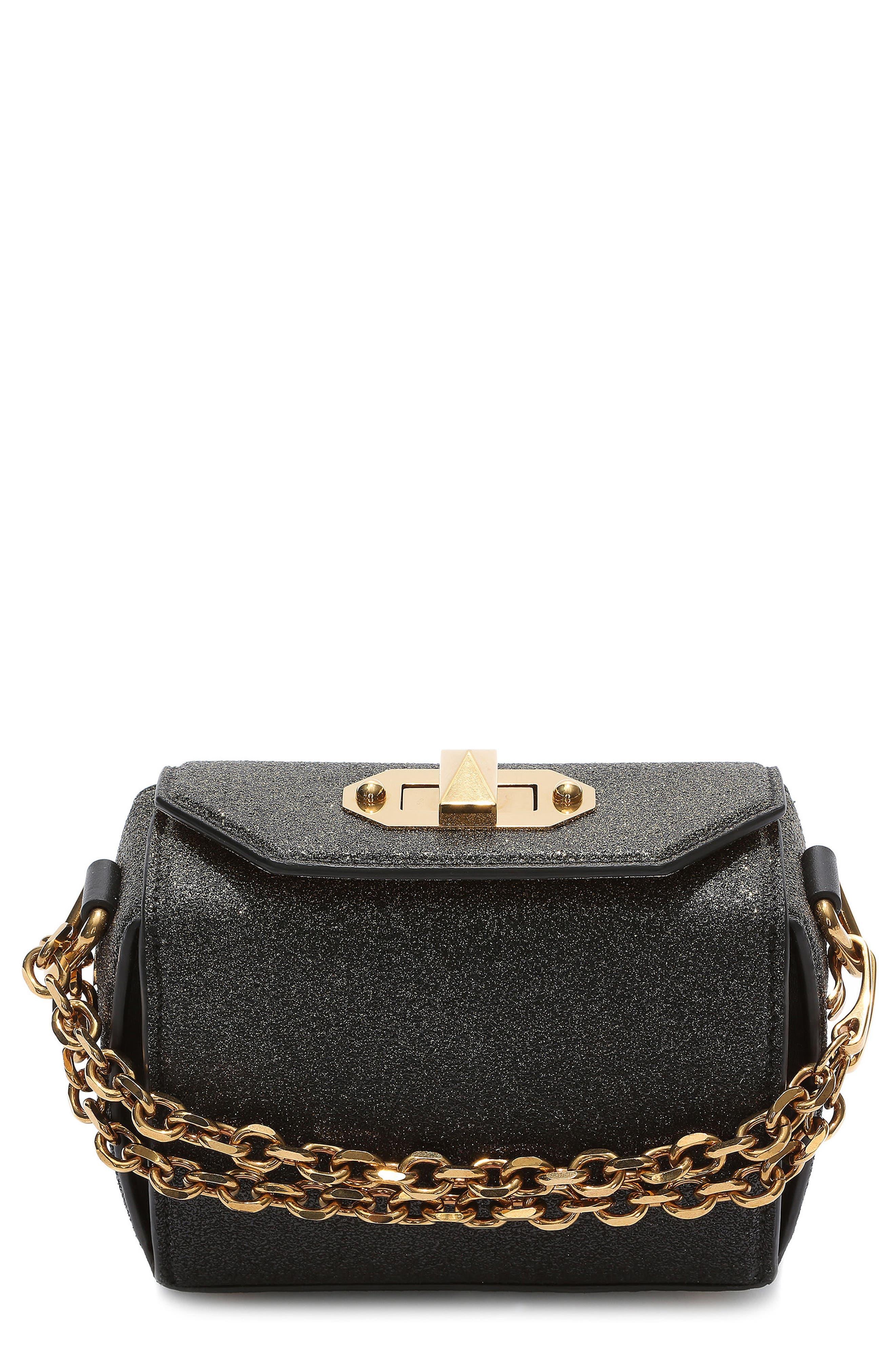 Mini Leather Box Bag,                             Main thumbnail 1, color,                             BLACK/ GOLD