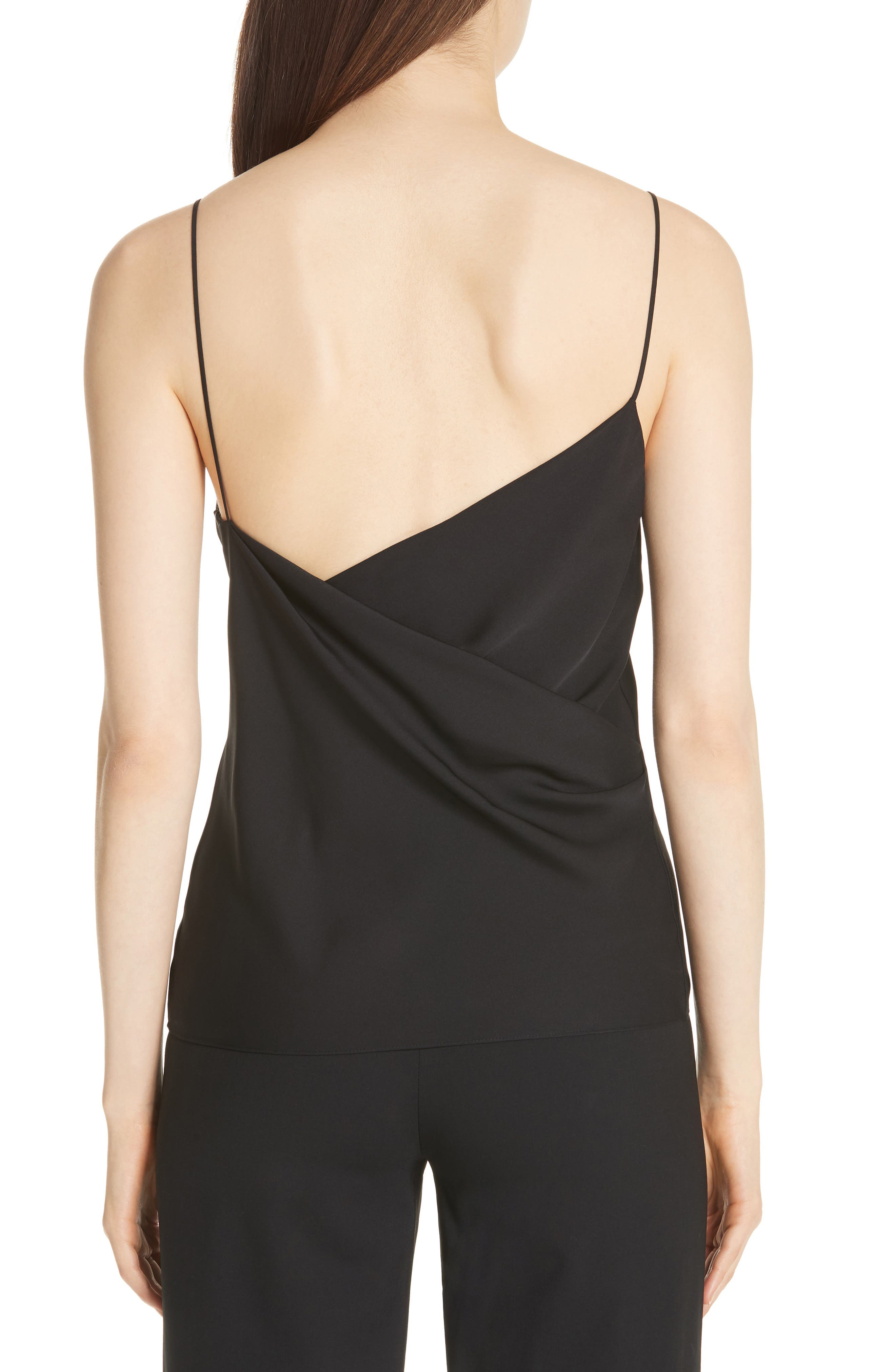 THEORY,                             Cowl Back Silk Camisole,                             Alternate thumbnail 2, color,                             001
