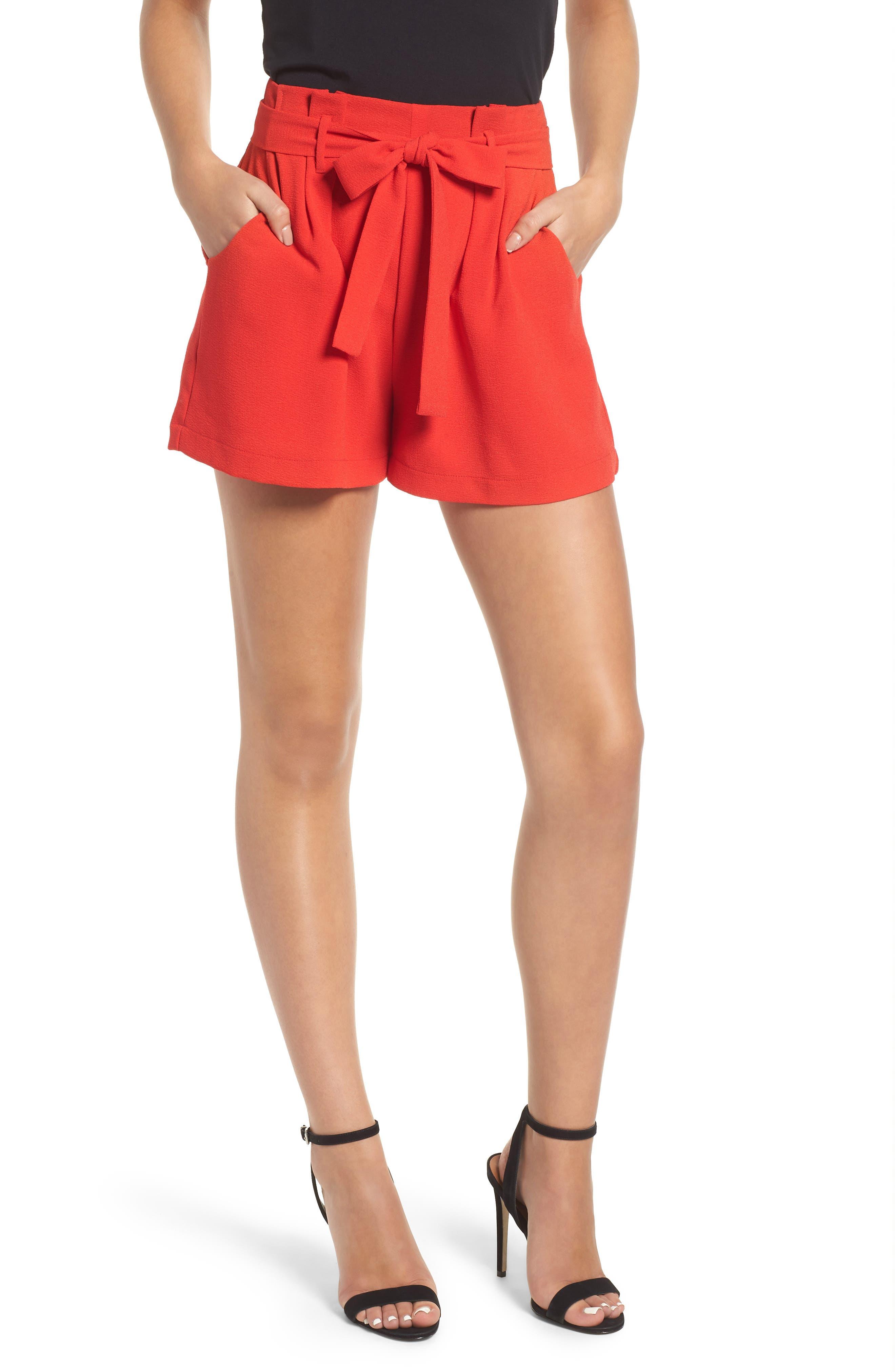 Tie Waist Shorts,                             Main thumbnail 1, color,                             RED LIPSTICK