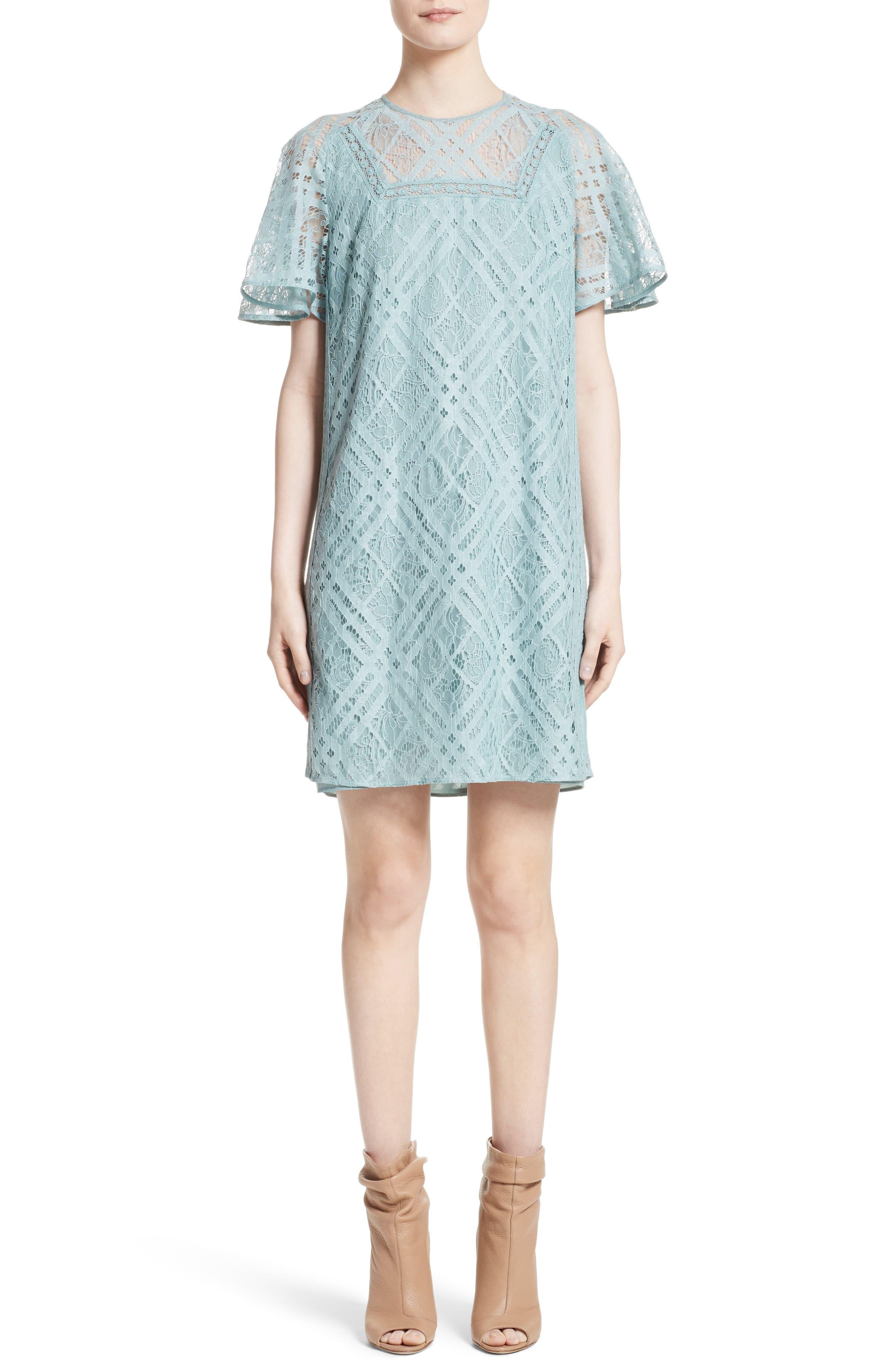 Keri Floral Check Lace Dress,                         Main,                         color, 450