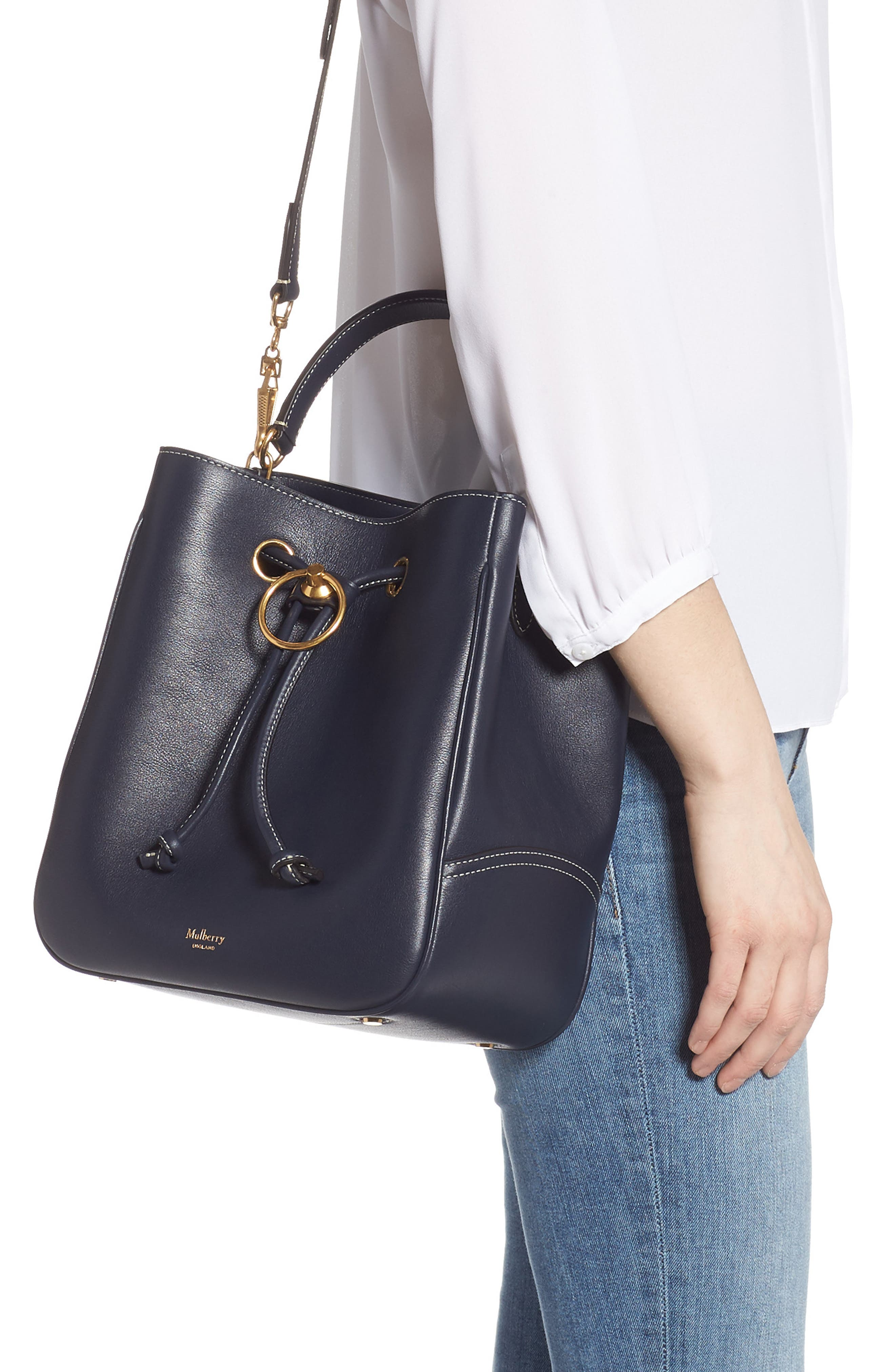 MULBERRY,                             Hampstead Silky Calfskin Leather Bucket Bag,                             Alternate thumbnail 2, color,                             MIDNIGHT