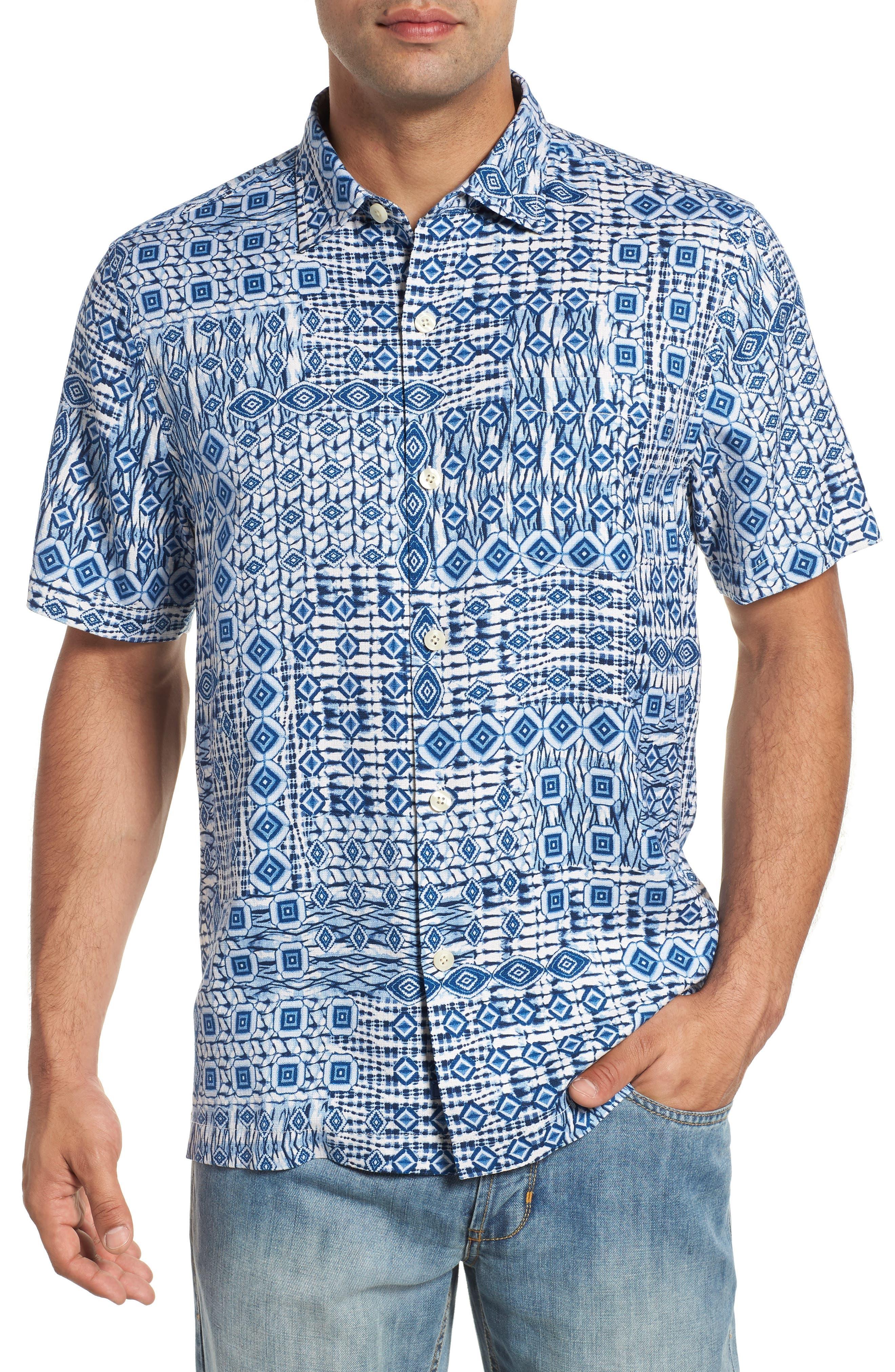 Tile Traveler Regular Fit Silk Camp Shirt,                         Main,                         color, BLUE JEAN