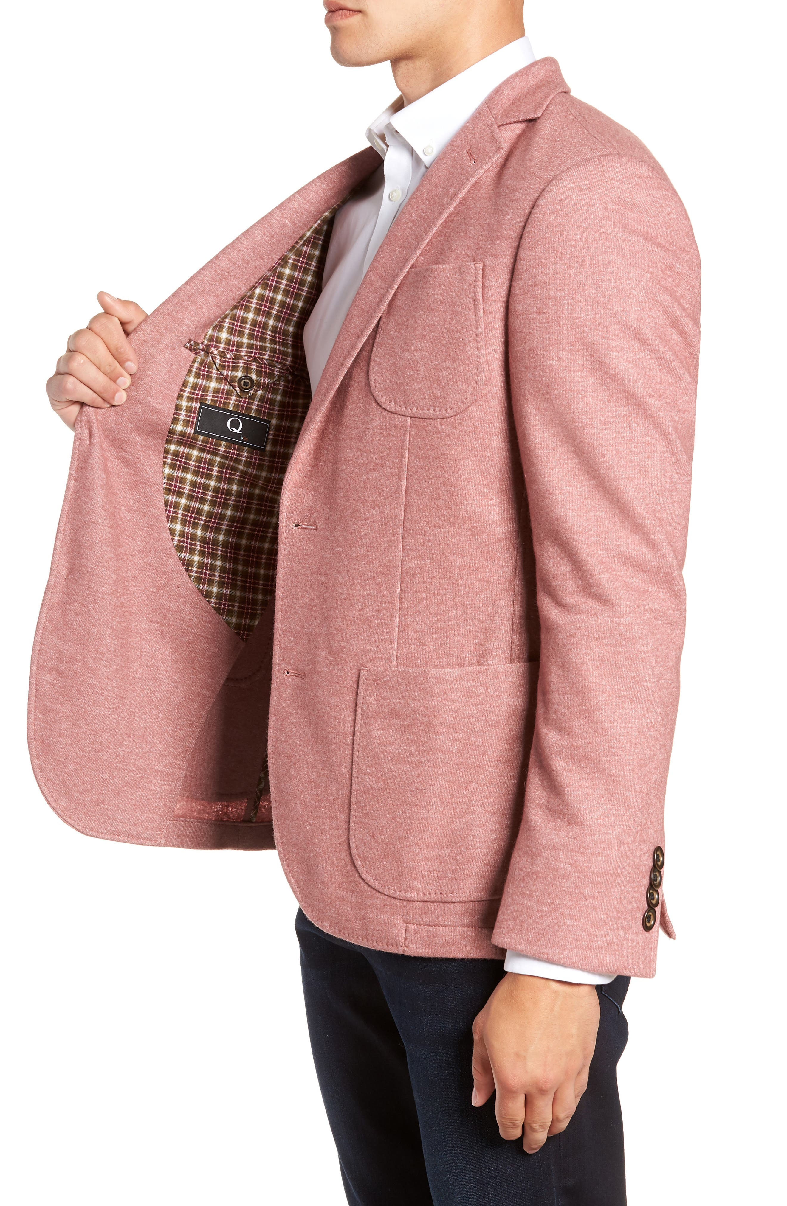 Regular Fit Knit Wool Blend Sport Coat,                             Alternate thumbnail 3, color,                             PINK