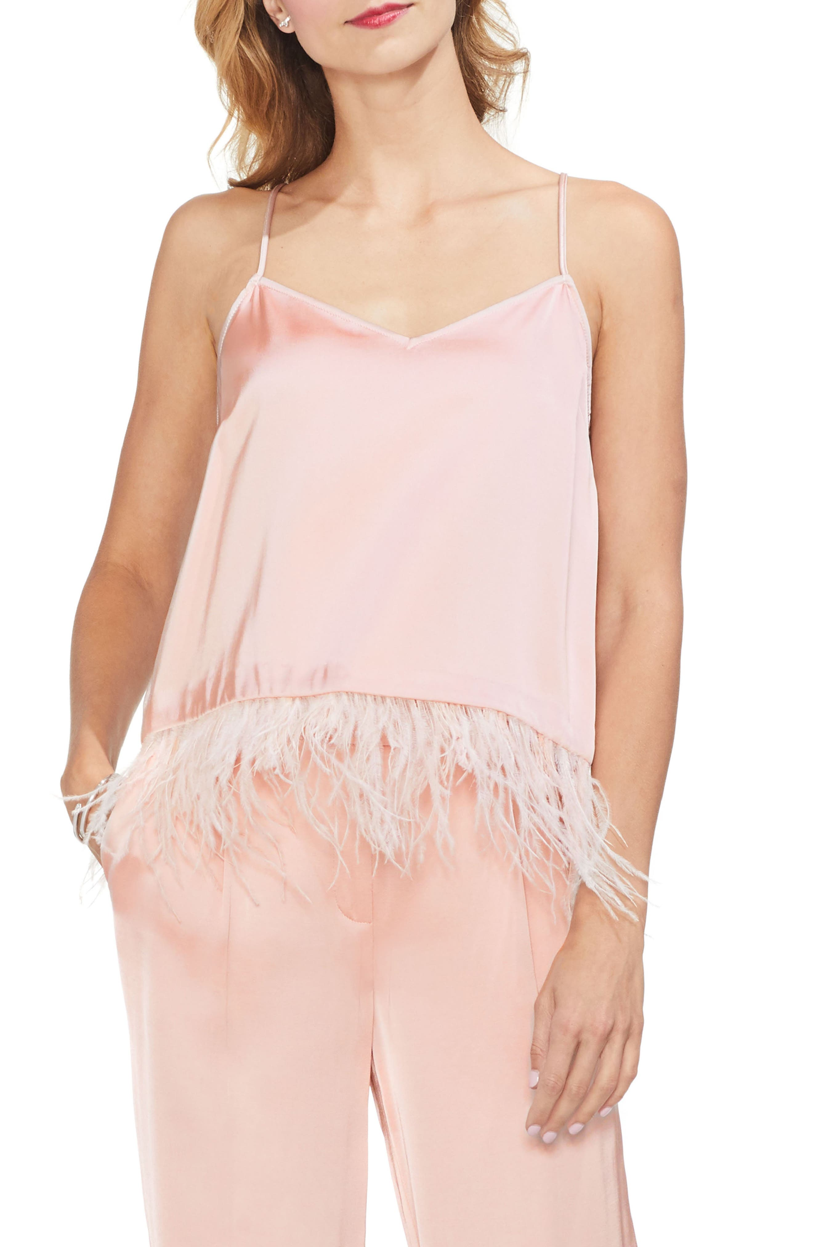 Soft Satin Feather Detail Chiffon Camisole in Rose Buff